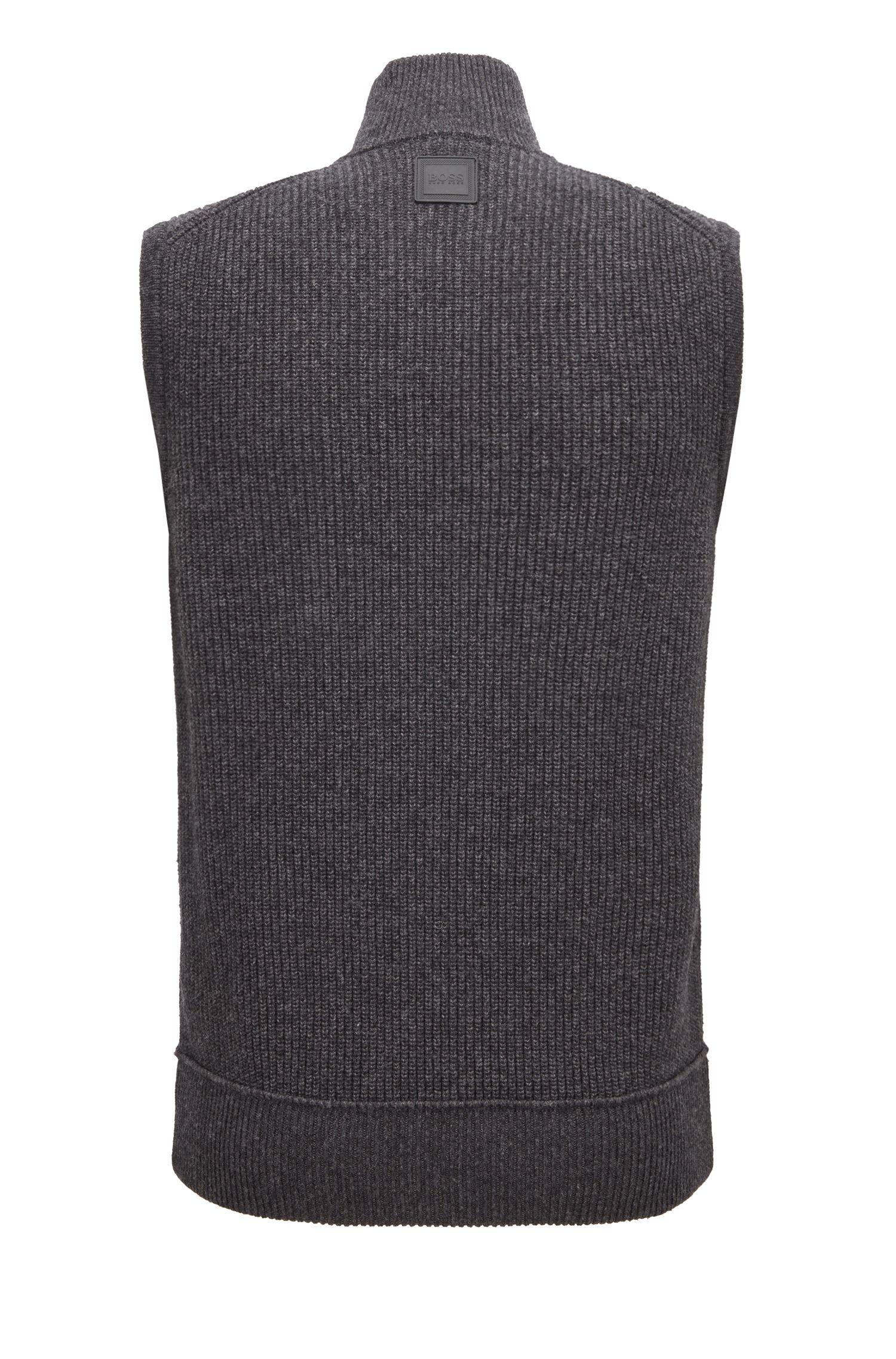 Mouwloze trui van een katoenmix met rits aan de voorkant, Donkergrijs