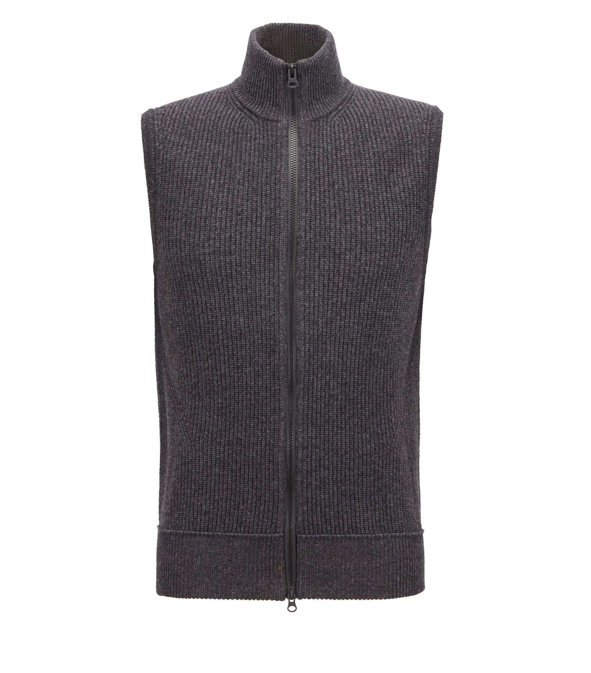 Cotton-blend sleeveless sweater with zip-through front, Dark Grey