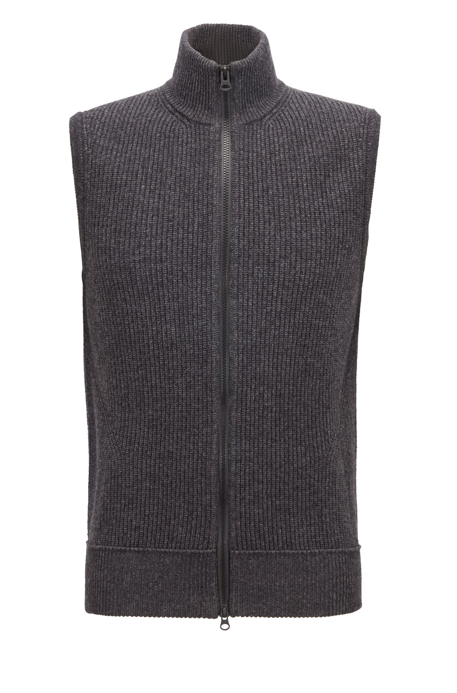 Cotton-blend sleeveless sweater with zip-through front, Dark Grey
