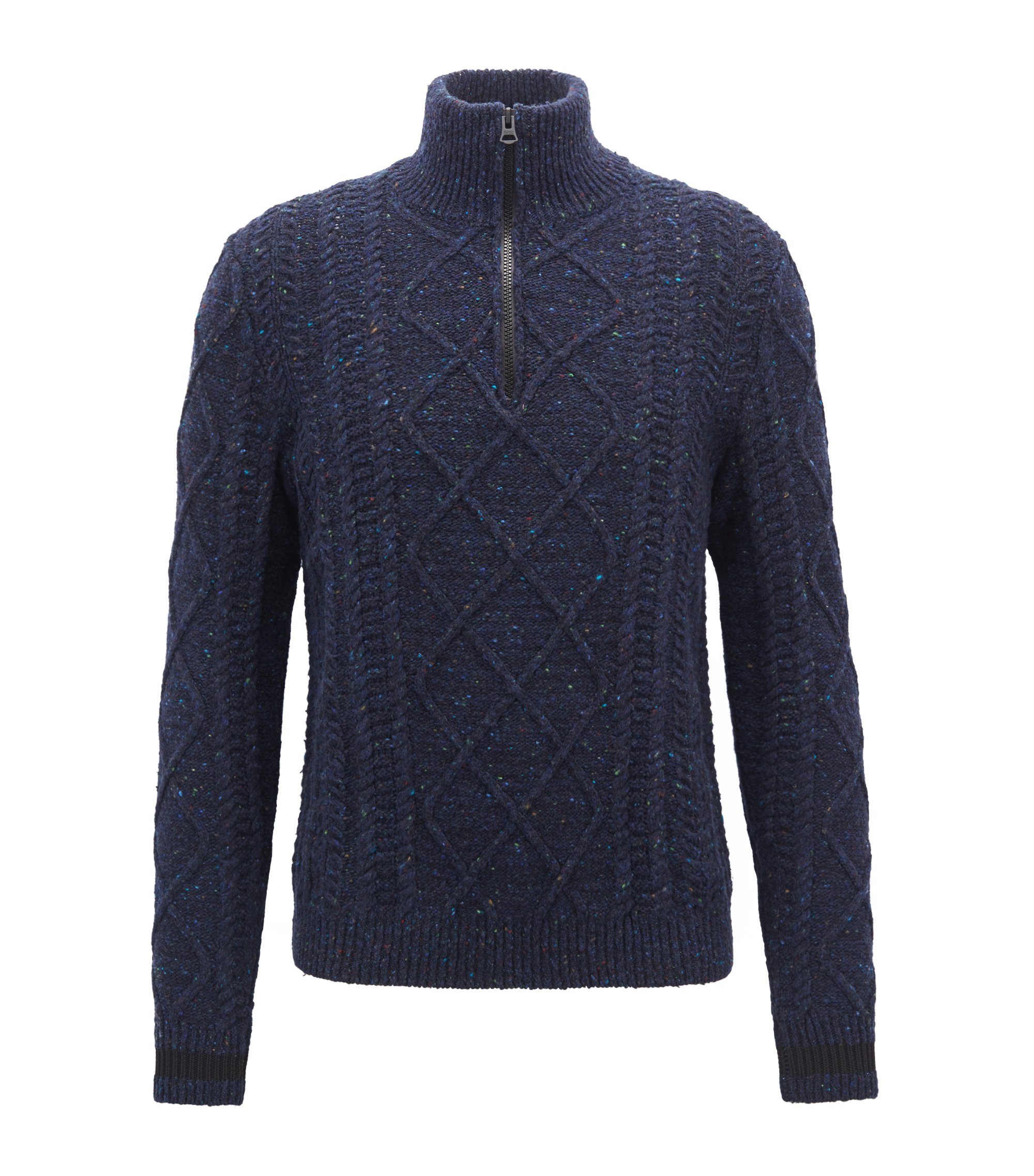 Zip-neck sweater in cable-knit tweed, Dark Blue