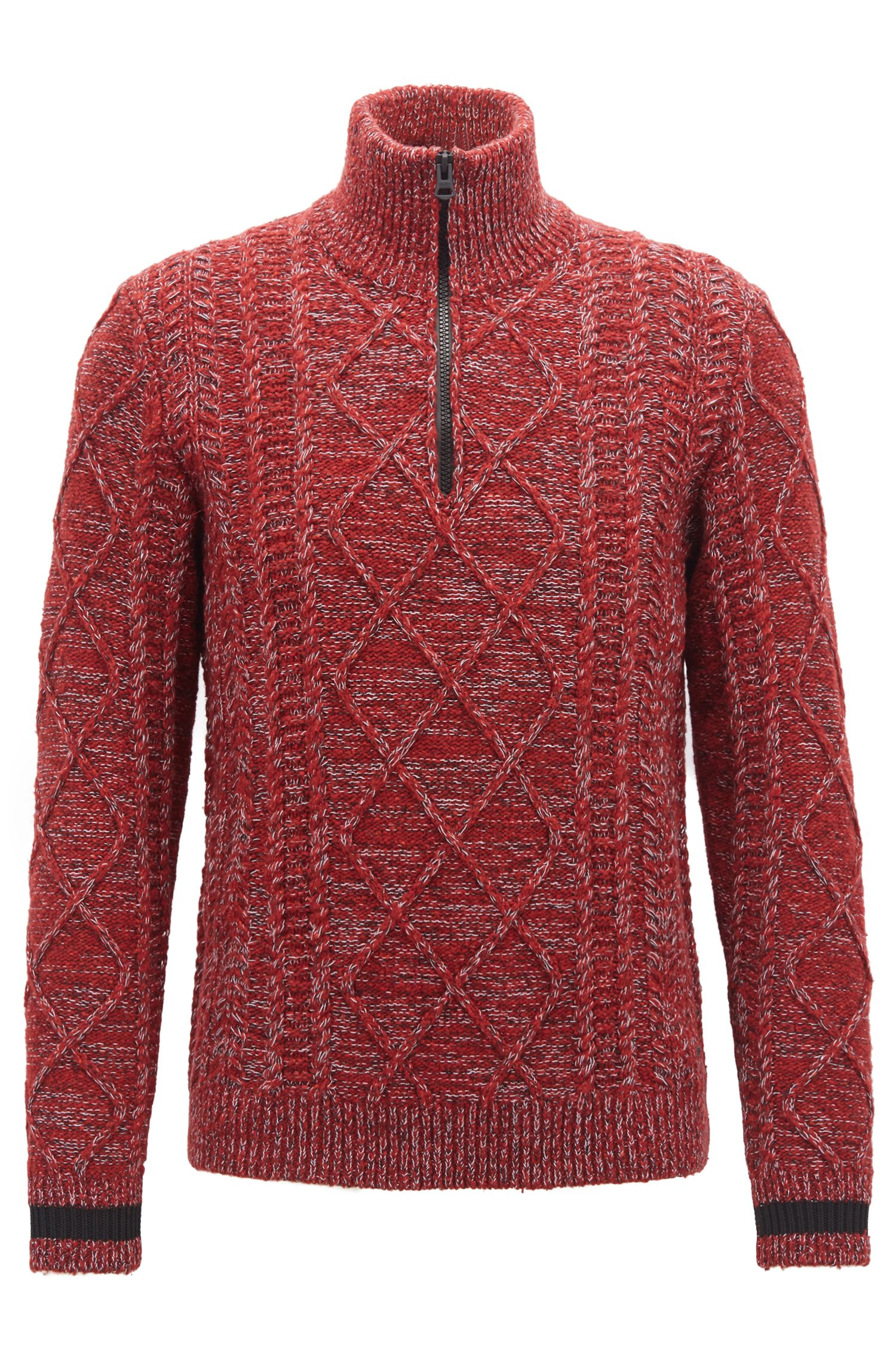 Zip-neck sweater in cable-knit tweed, Red