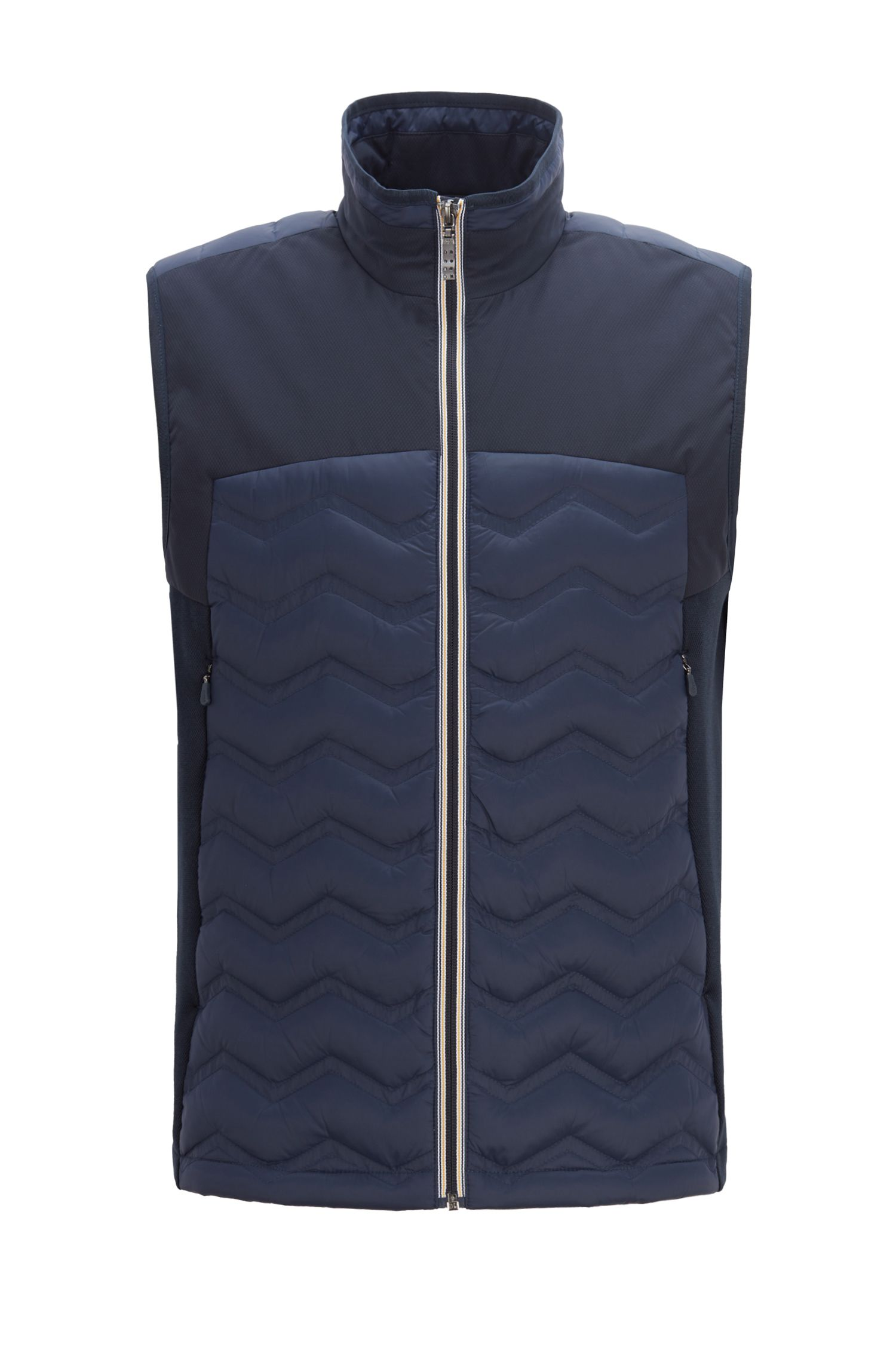 Link2 down gilet in water-repellent quilted taffeta, Dark Blue