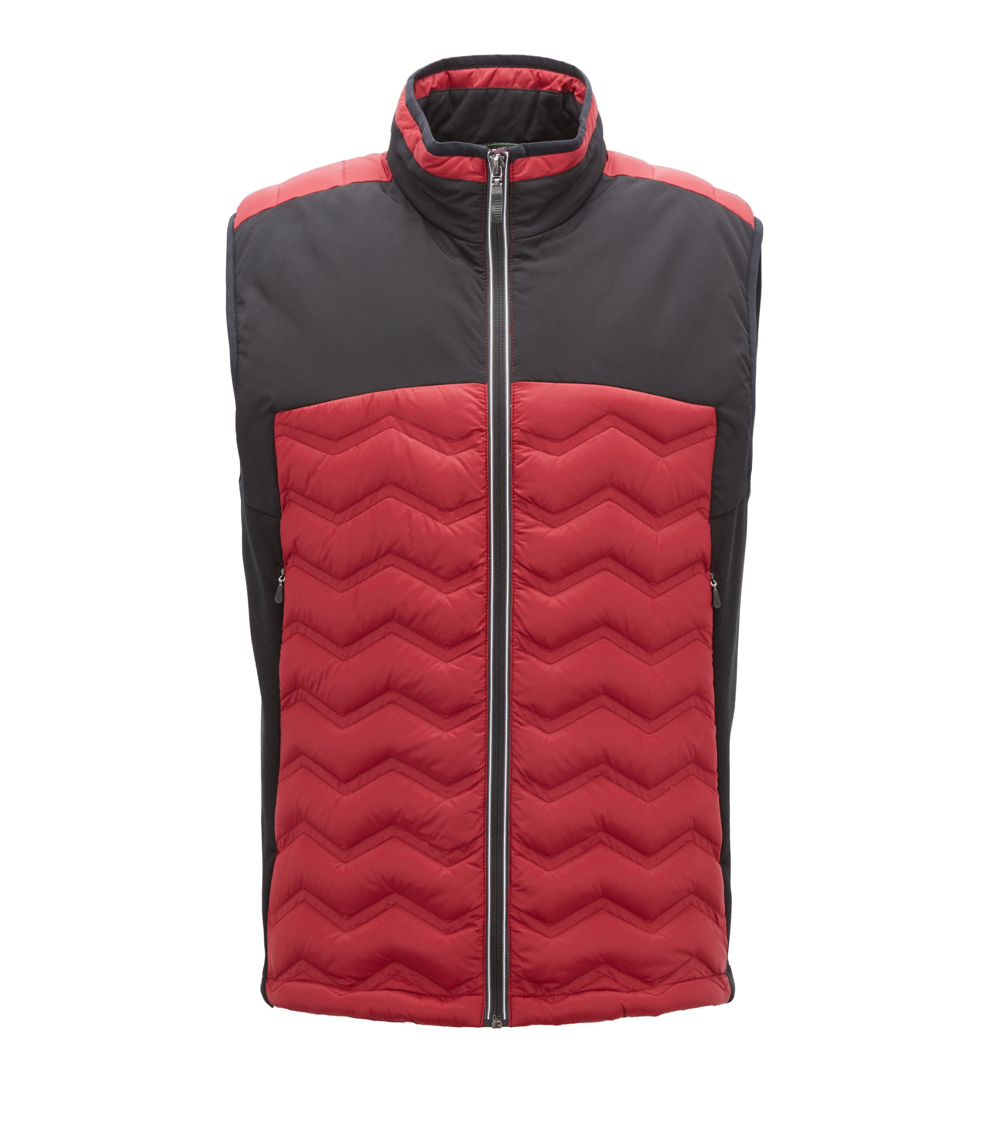Link2 down gilet in water-repellent quilted taffeta, Dark Red