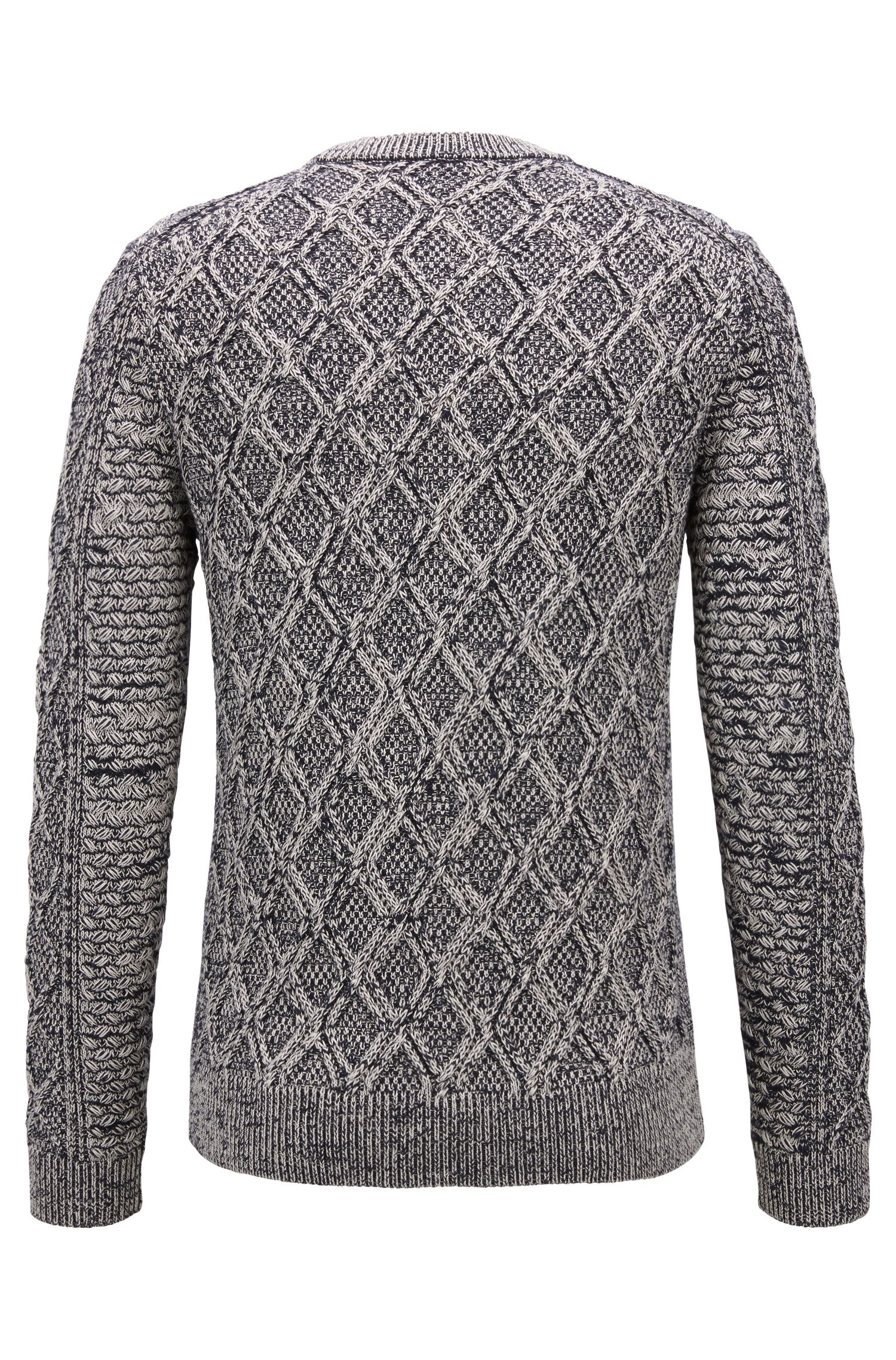 Cotton-blend sweater in a three-dimensional cable knit, Dark Blue