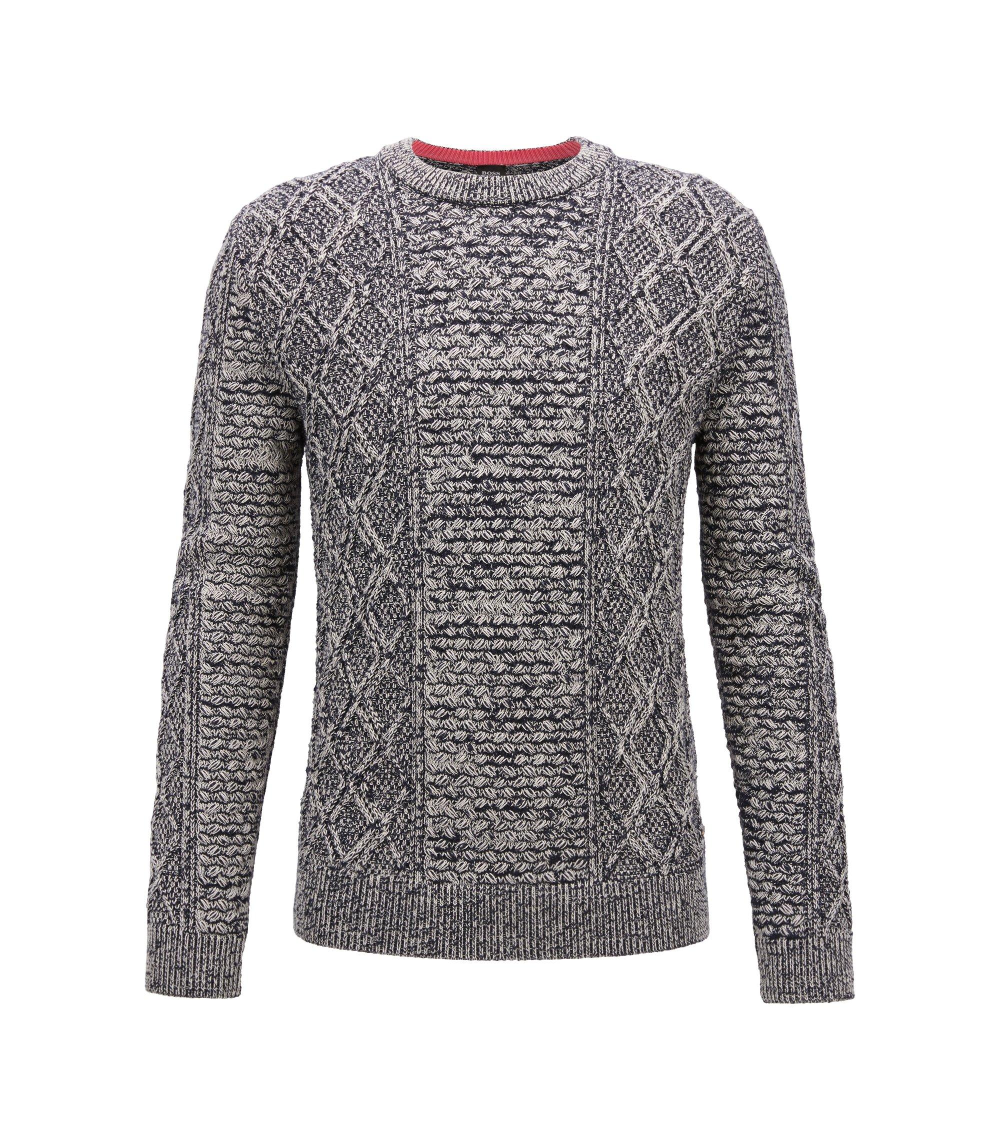 Pullover aus Baumwoll-Mix mit dreidimensionalem Zopfmuster, Dunkelblau