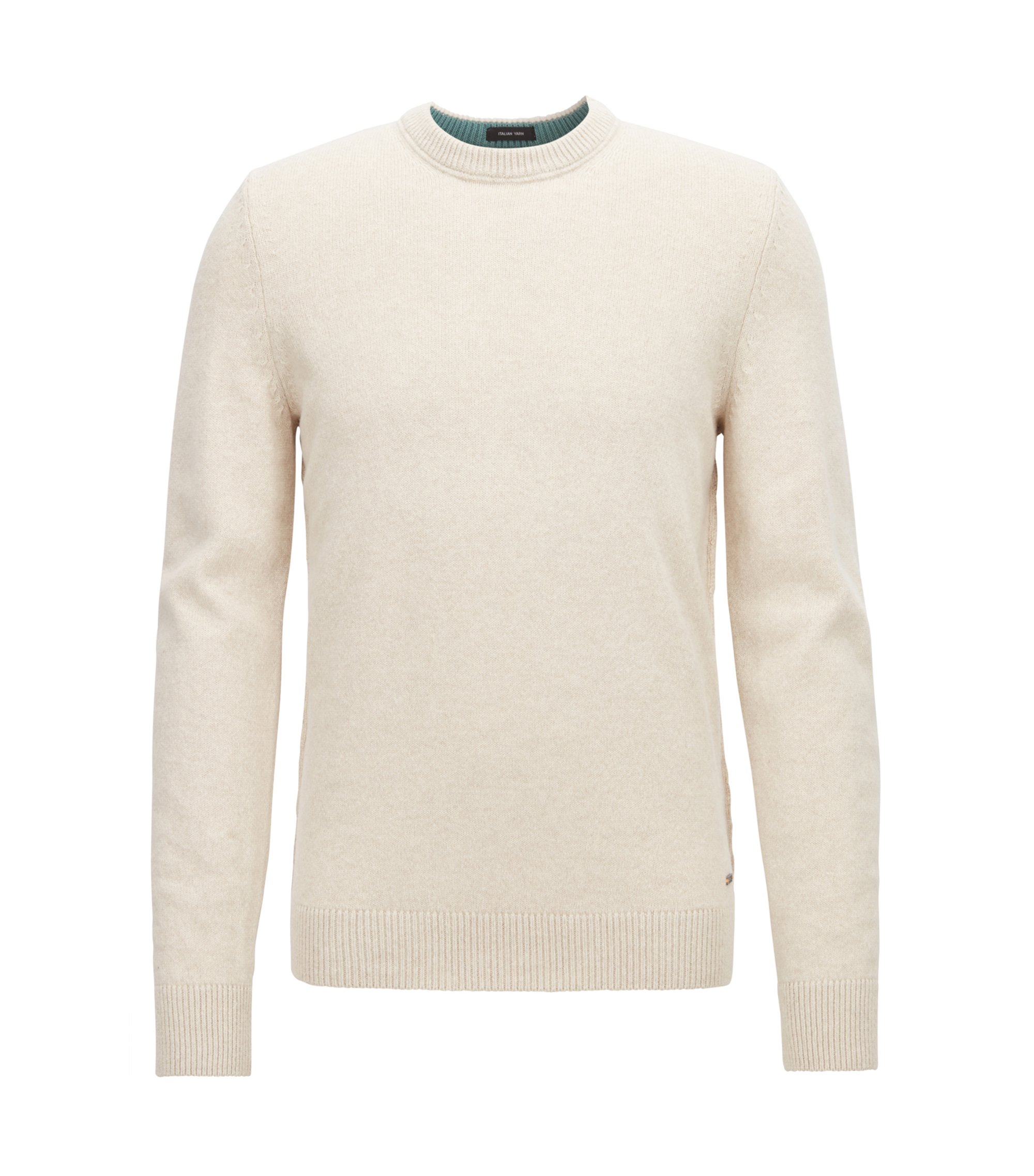 Crew-neck sweater in an Italian wool-cotton blend, Beige