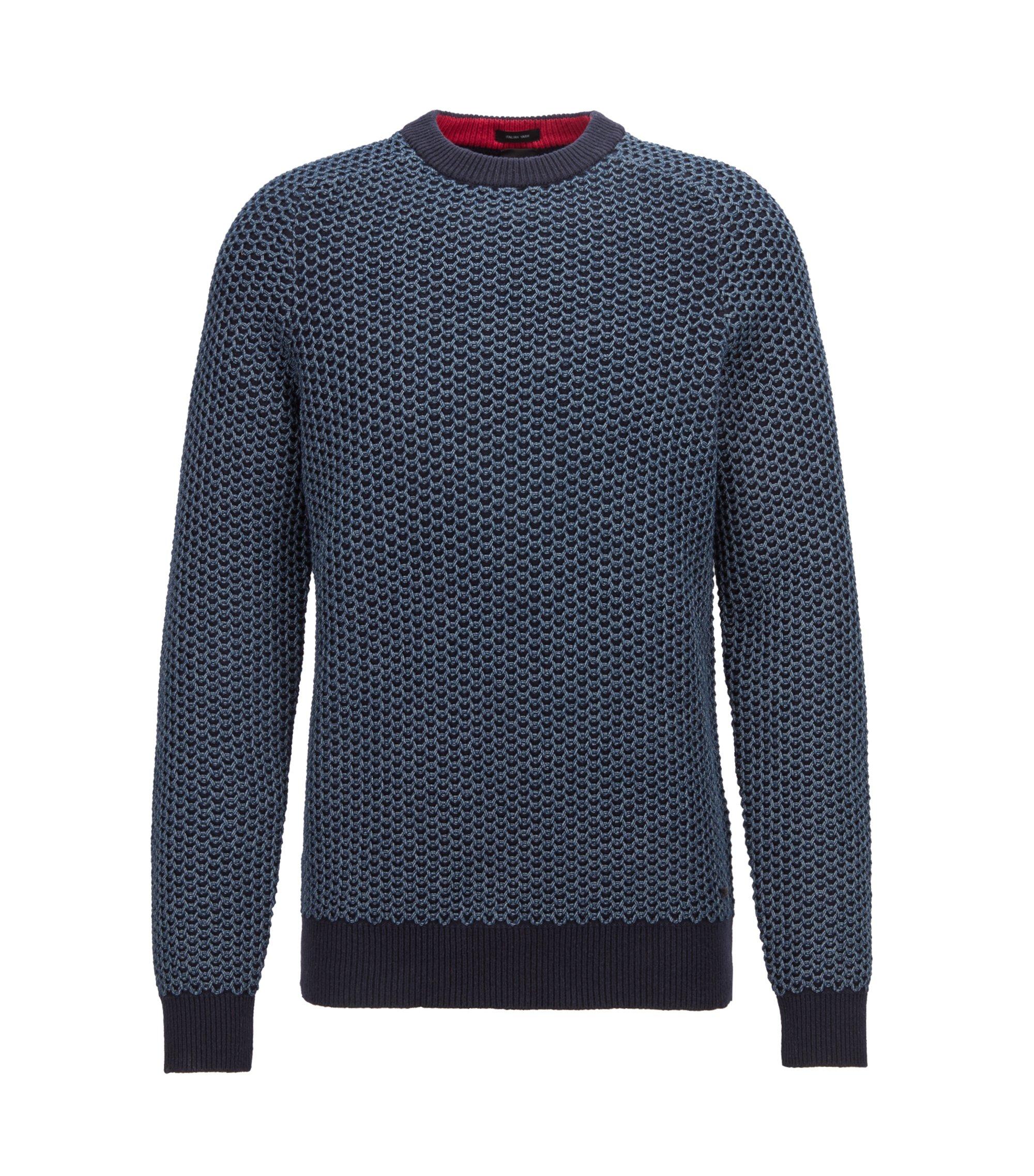 Zweifarbiger Pullover aus Baumwoll-Mix mit Netzstruktur, Dunkelblau