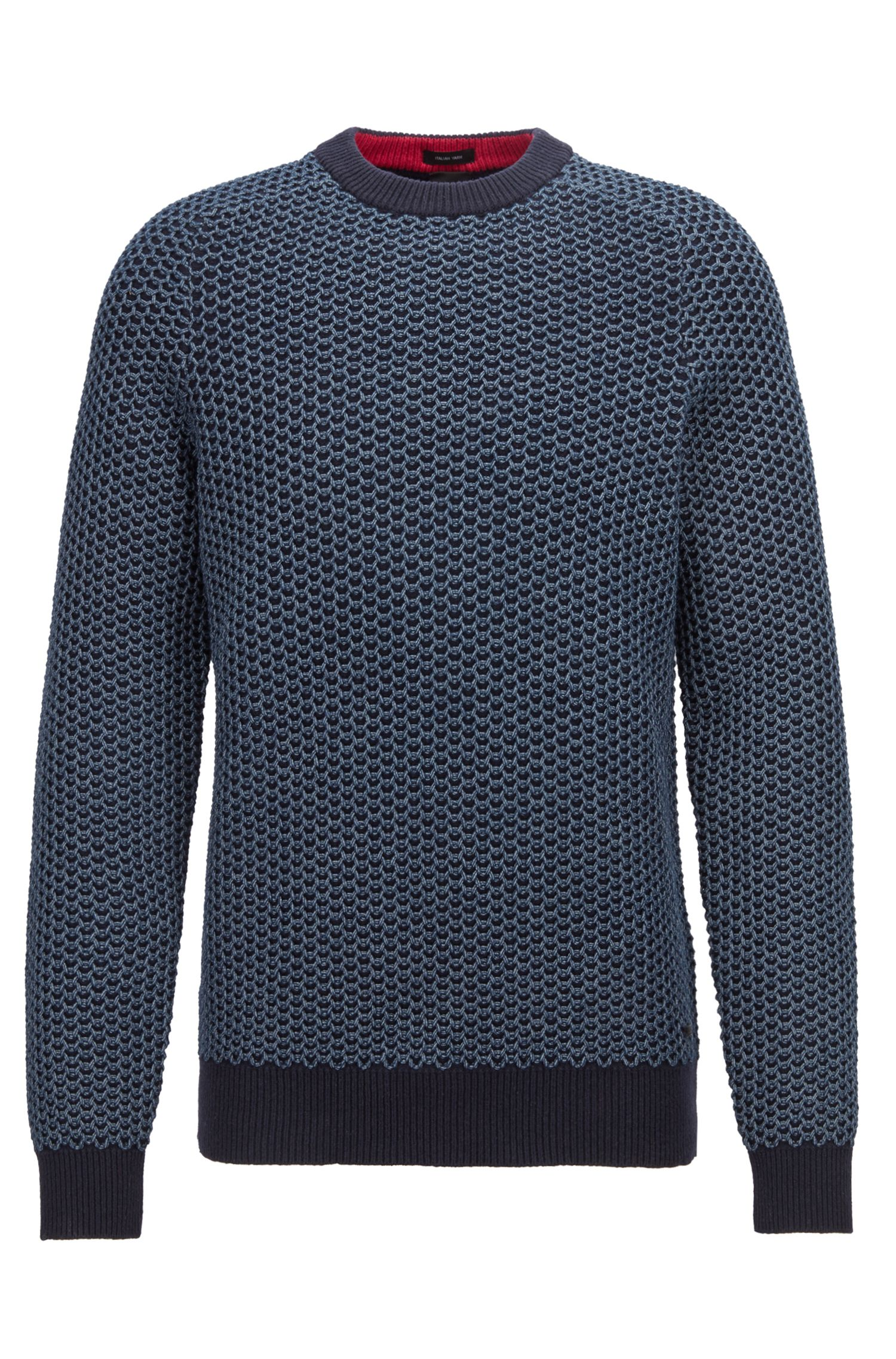 Two-tone sweater in a cotton-blend net structure, Dark Blue