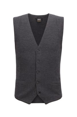 Slim-fit waistcoat in merino wool with rubberised buttons BOSS Outlet Store Cheap Price Cheap Sale Websites rIXReHF0