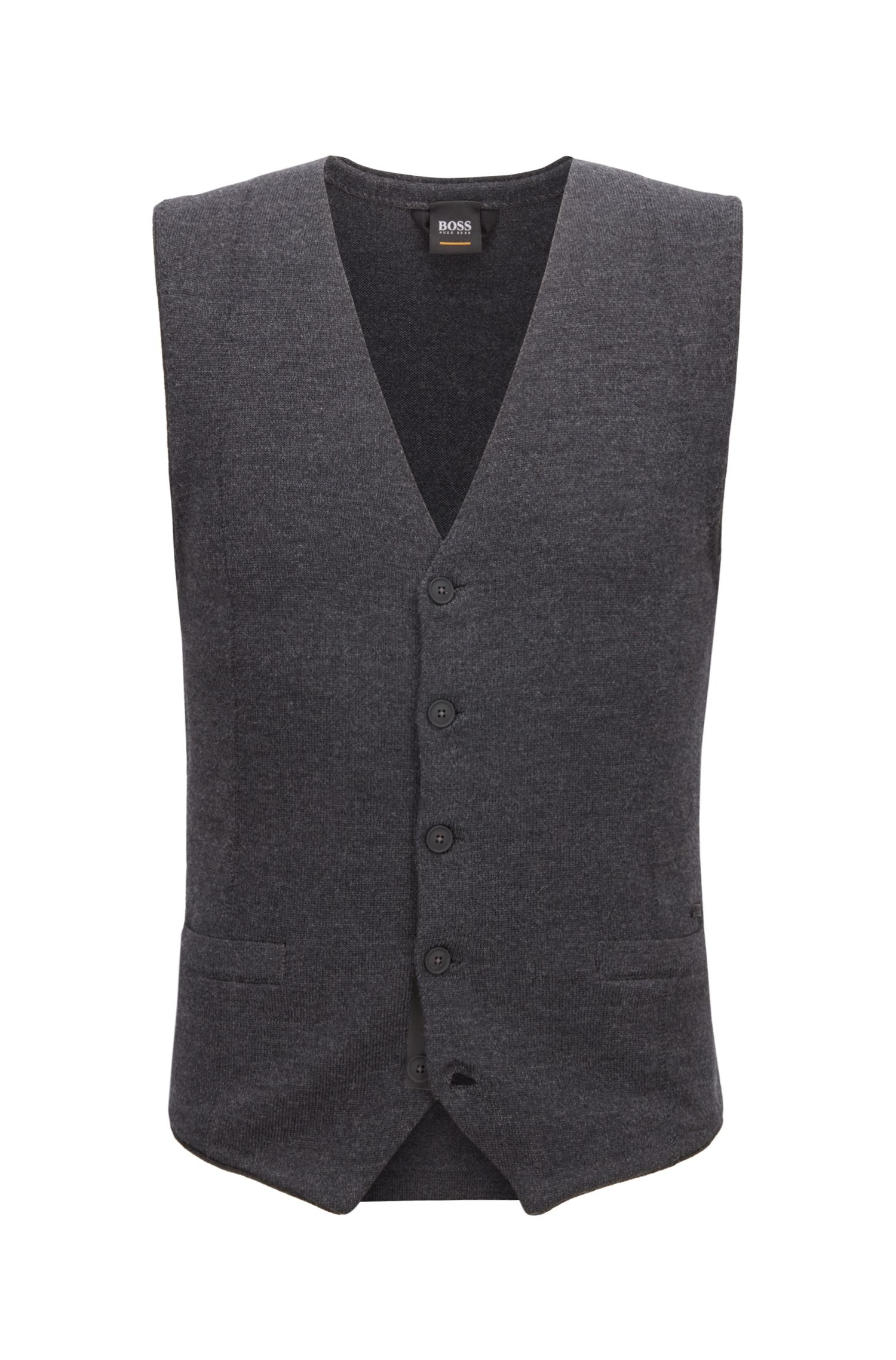 Slim-fit waistcoat in merino wool with rubberised buttons, Dark Grey