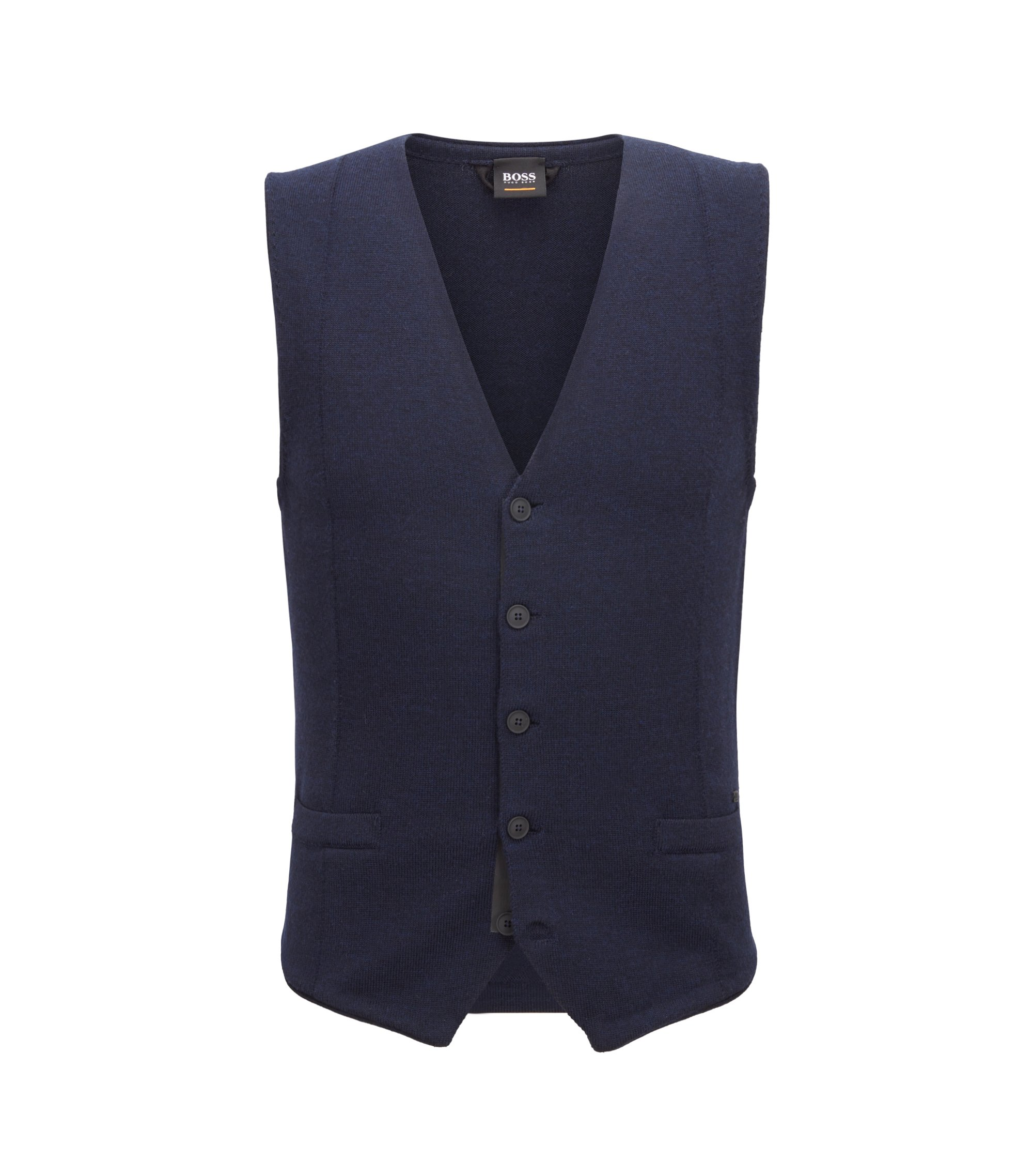 Gilet slim fit in lana merino con bottoni gommati, Blu scuro