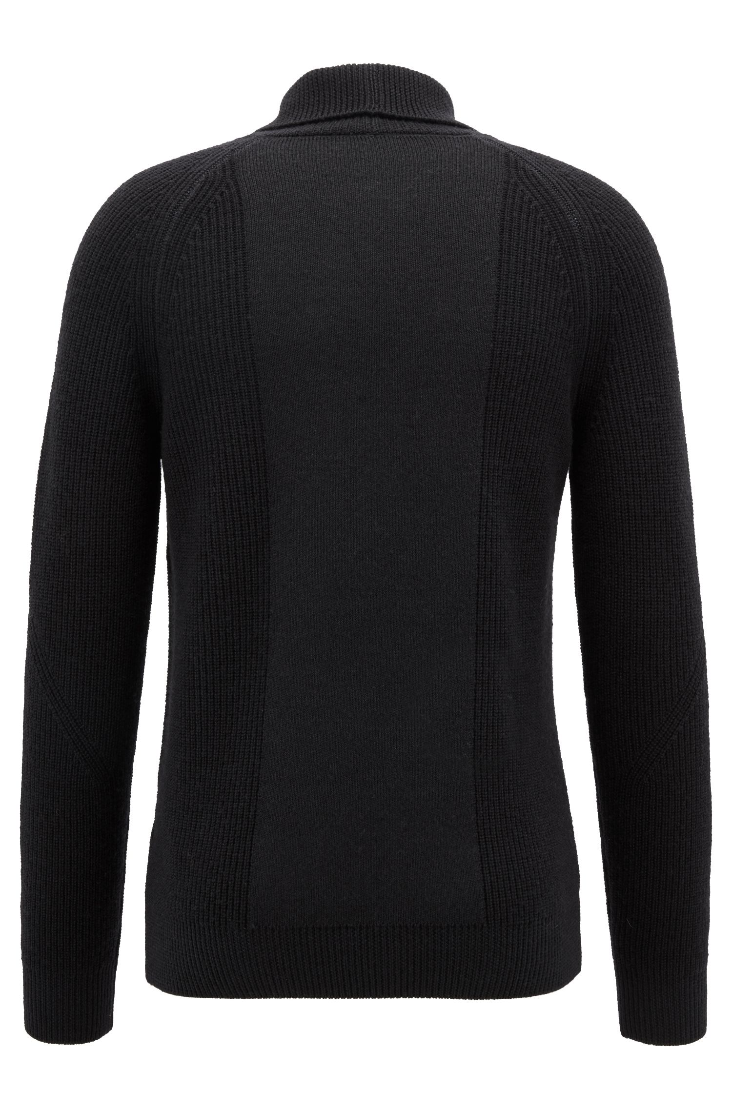 Knitted sweater in virgin wool with shawl collar, Black