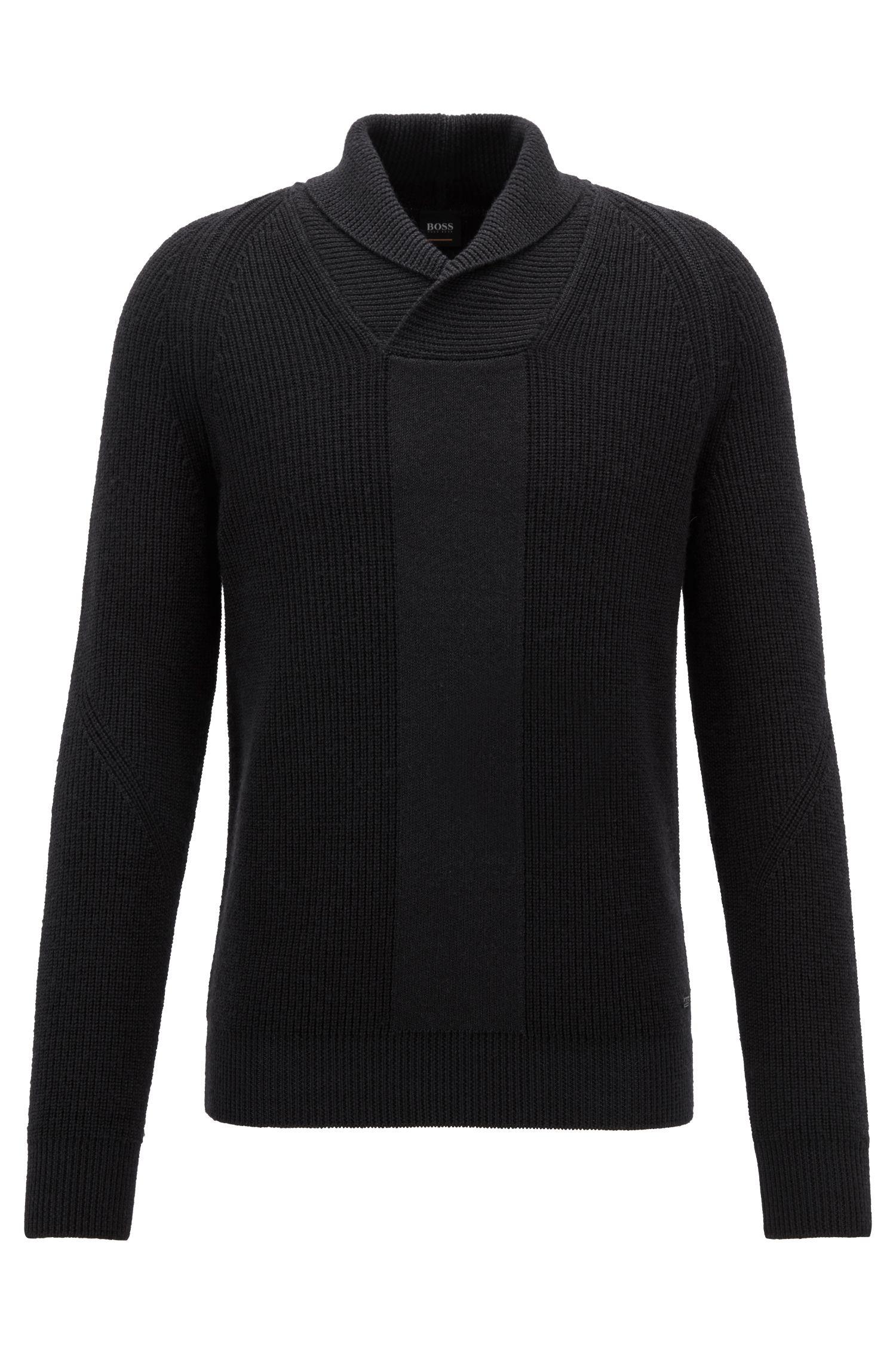 Pull en maille en laine vierge à col châle, Noir