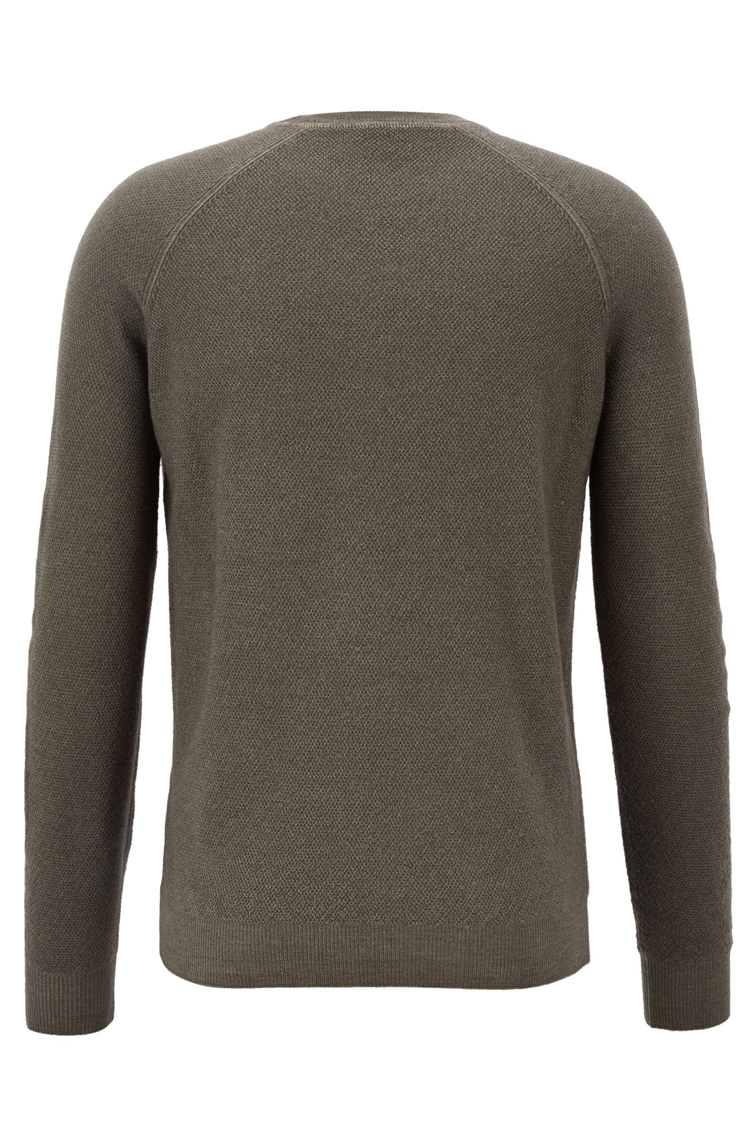 Crew-neck sweater in lightweight merino wool piqué, Dark Green