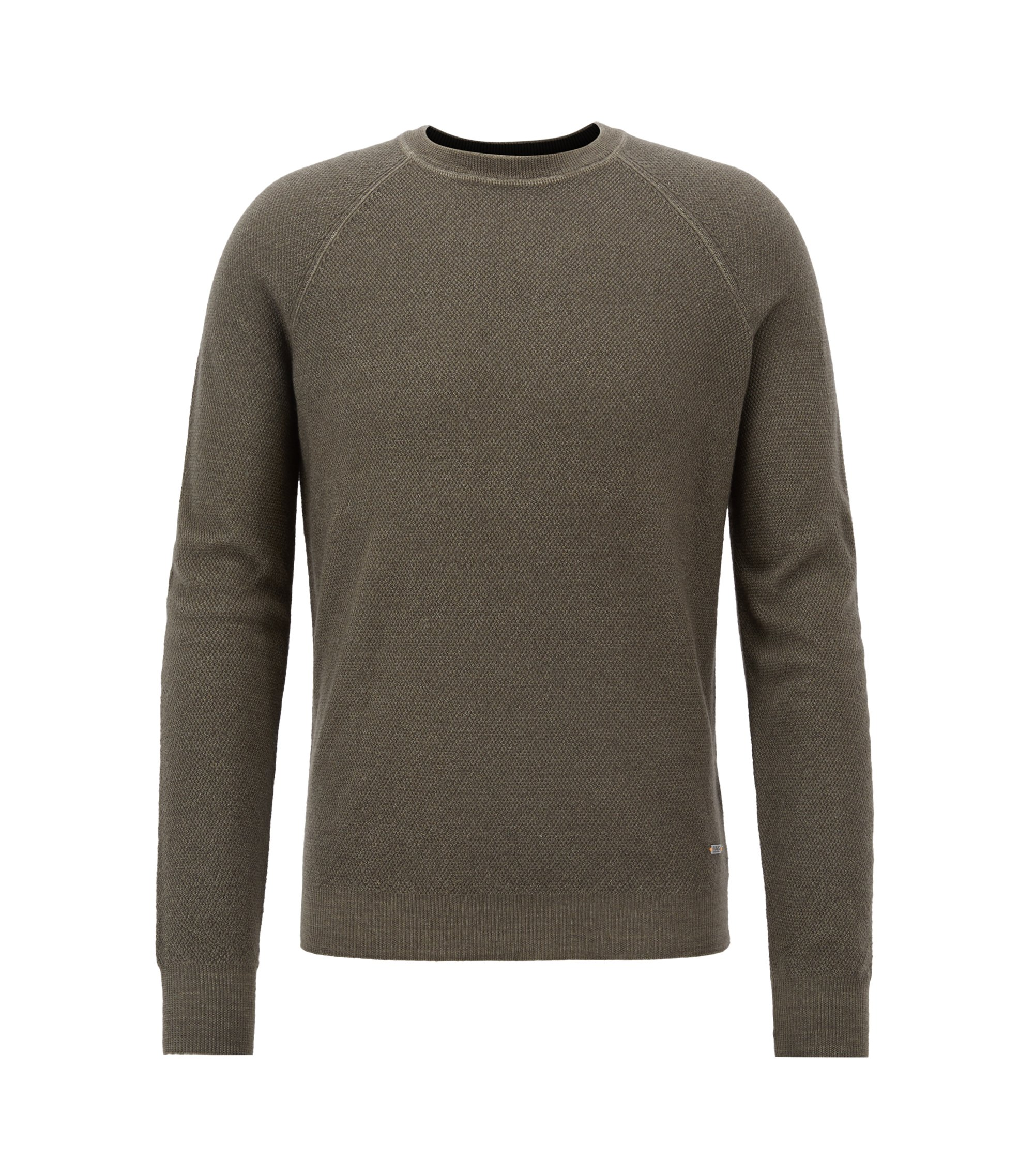 Crew-neck sweater in lightweight merino wool piqué, Dark Green