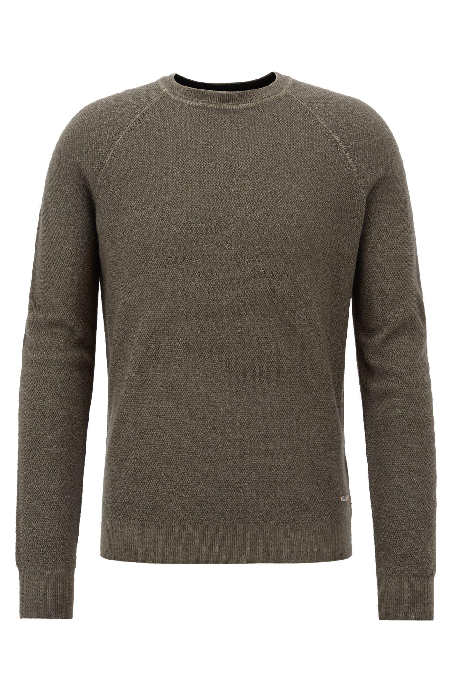Pullover aus leichtem Merinowoll-Piqué mit Rundhalsausschnitt, Dunkelgrün