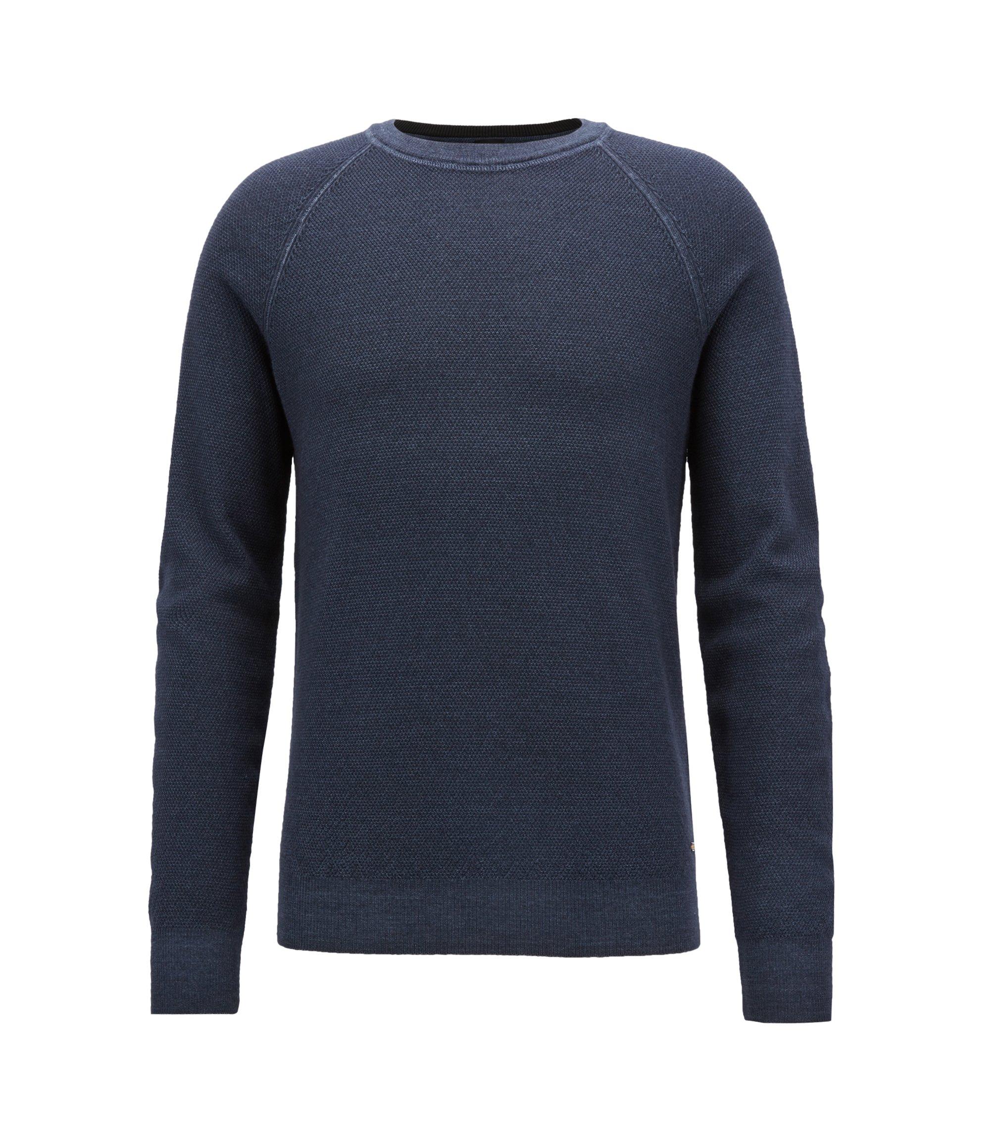 Pull à col ras-du-cou en piqué de laine mérinos légère, Bleu foncé