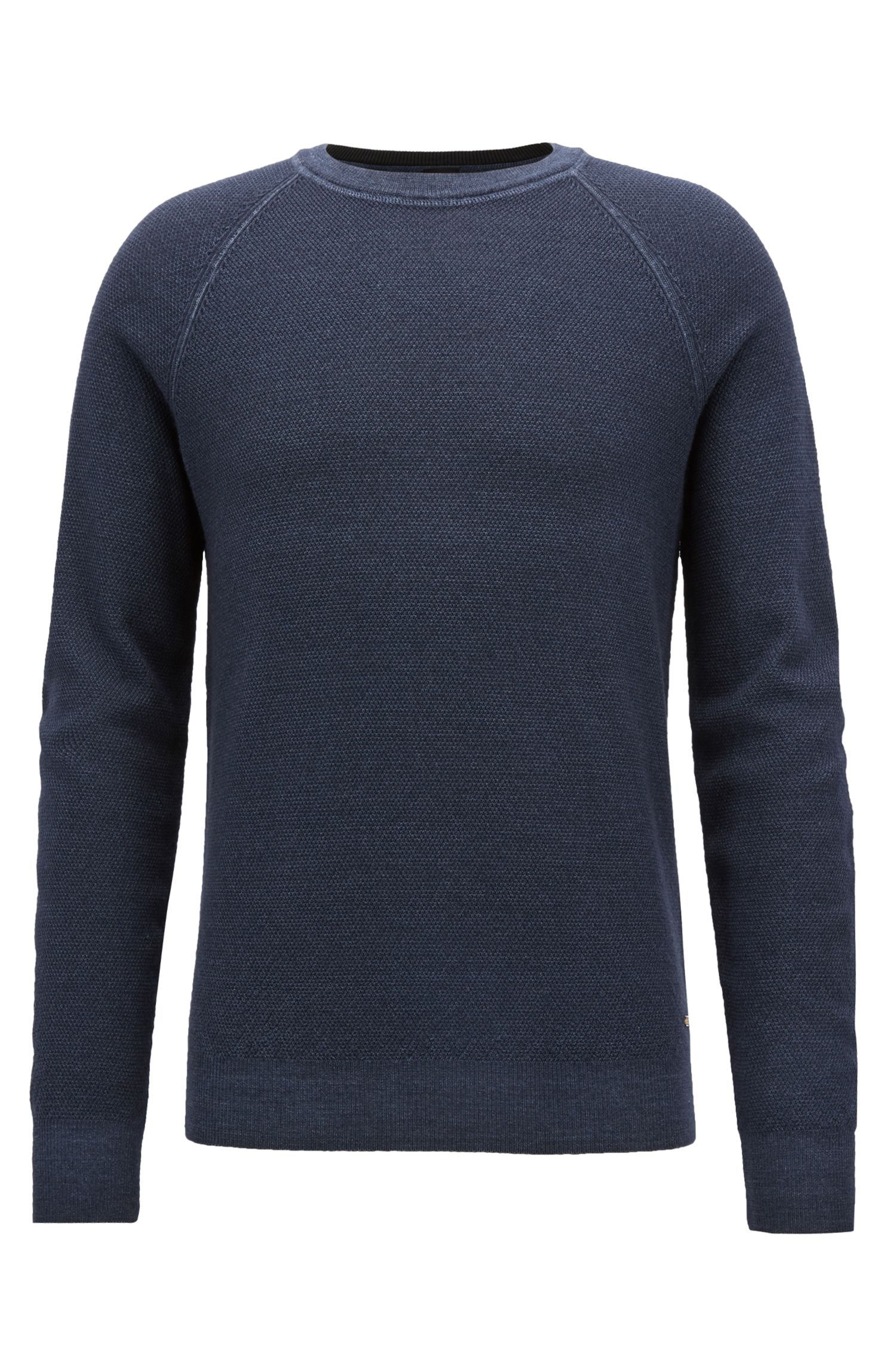 Crew-neck sweater in lightweight merino wool piqué, Dark Blue