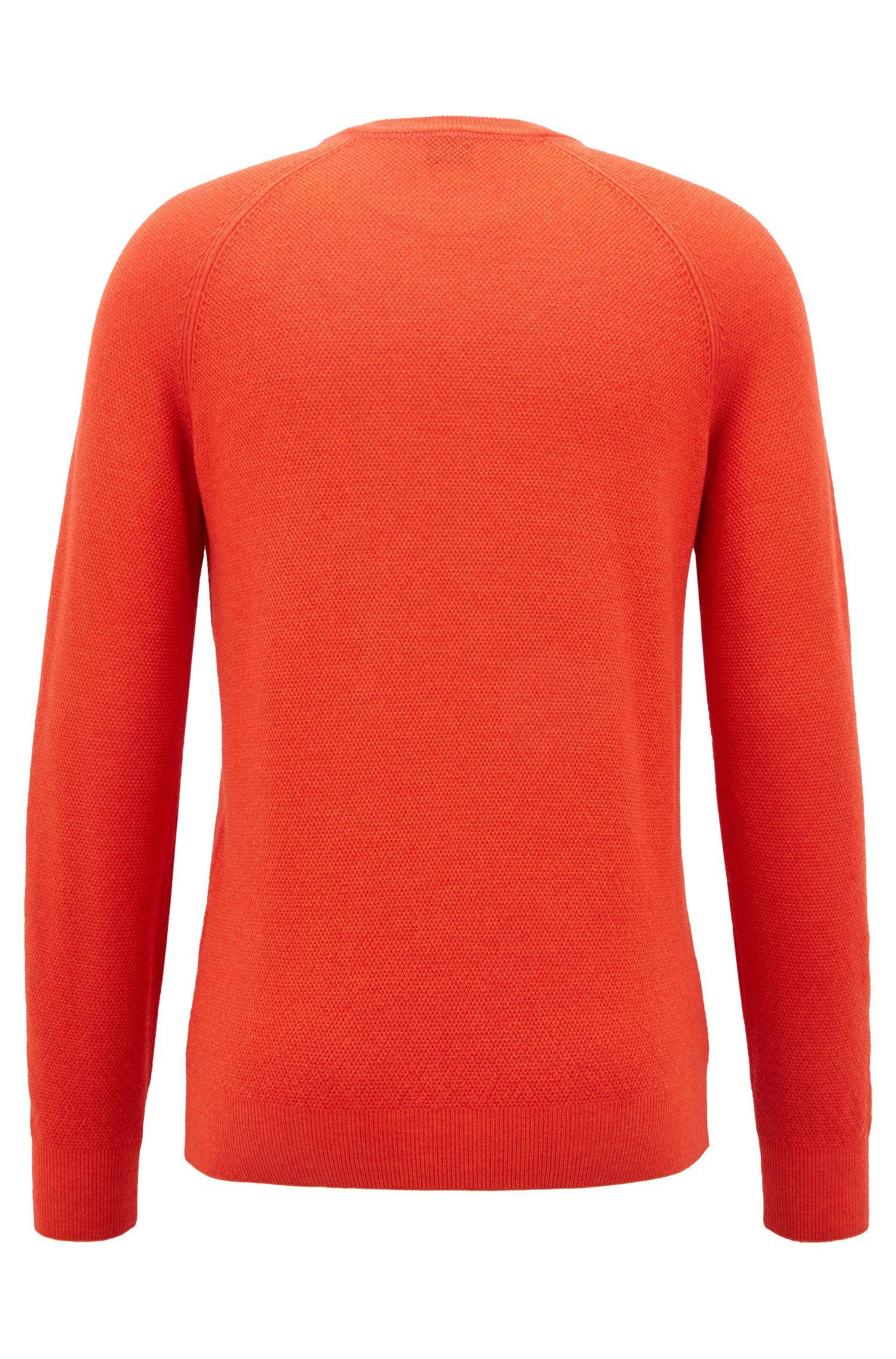 Pullover aus leichtem Merinowoll-Piqué mit Rundhalsausschnitt, Hellrot