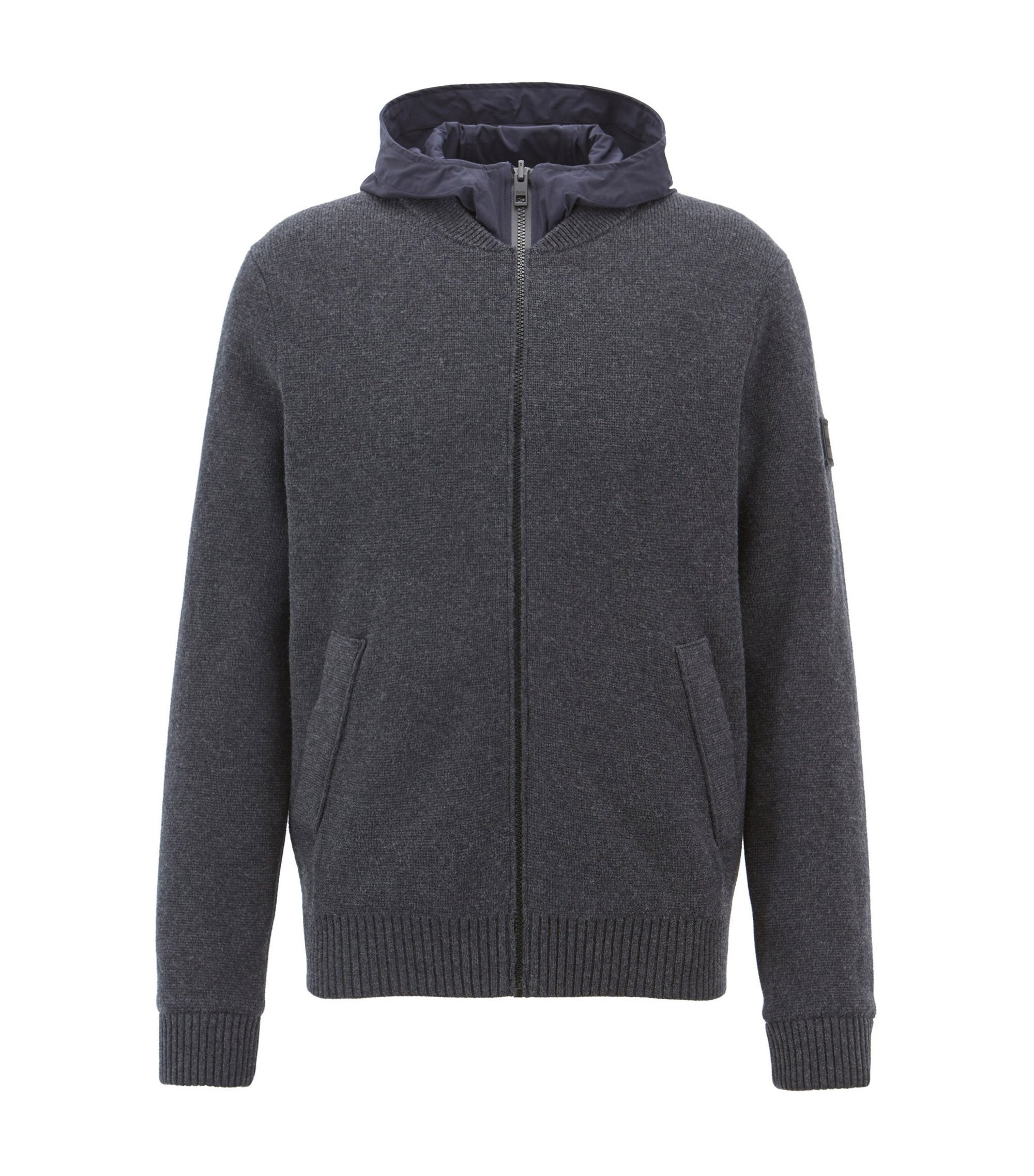 Reversible hooded jacket in cotton blend and technical fabric, Dark Grey