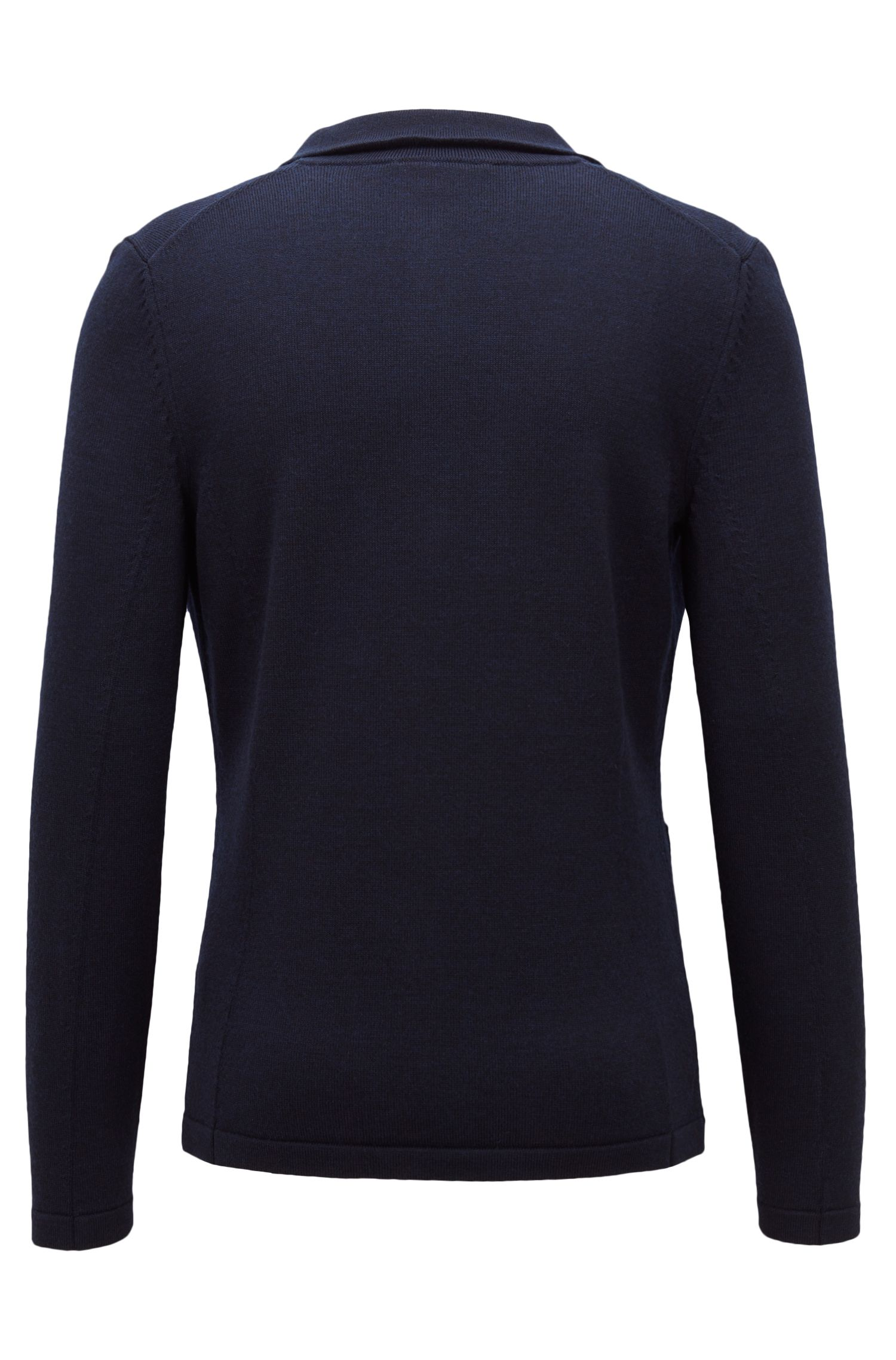 Knitted jacket in fine merino wool with rubberised buttons, Dark Blue