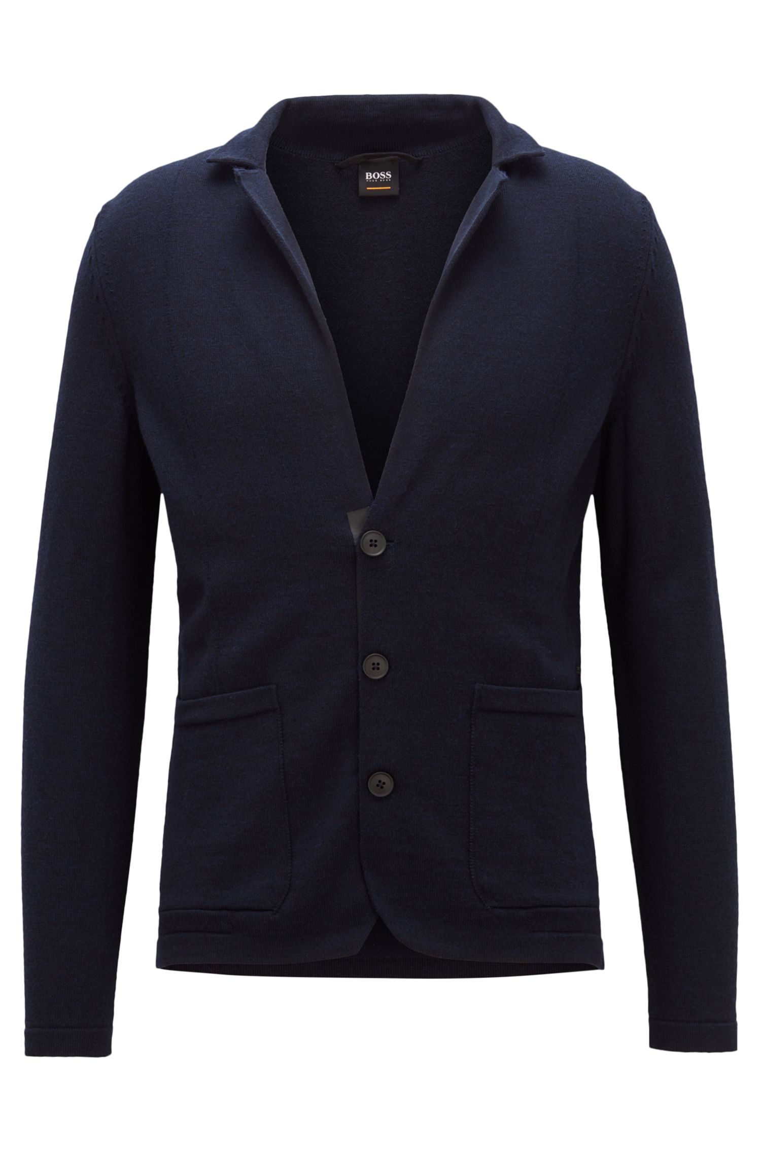 Knitted jacket in fine merino wool with rubberised buttons