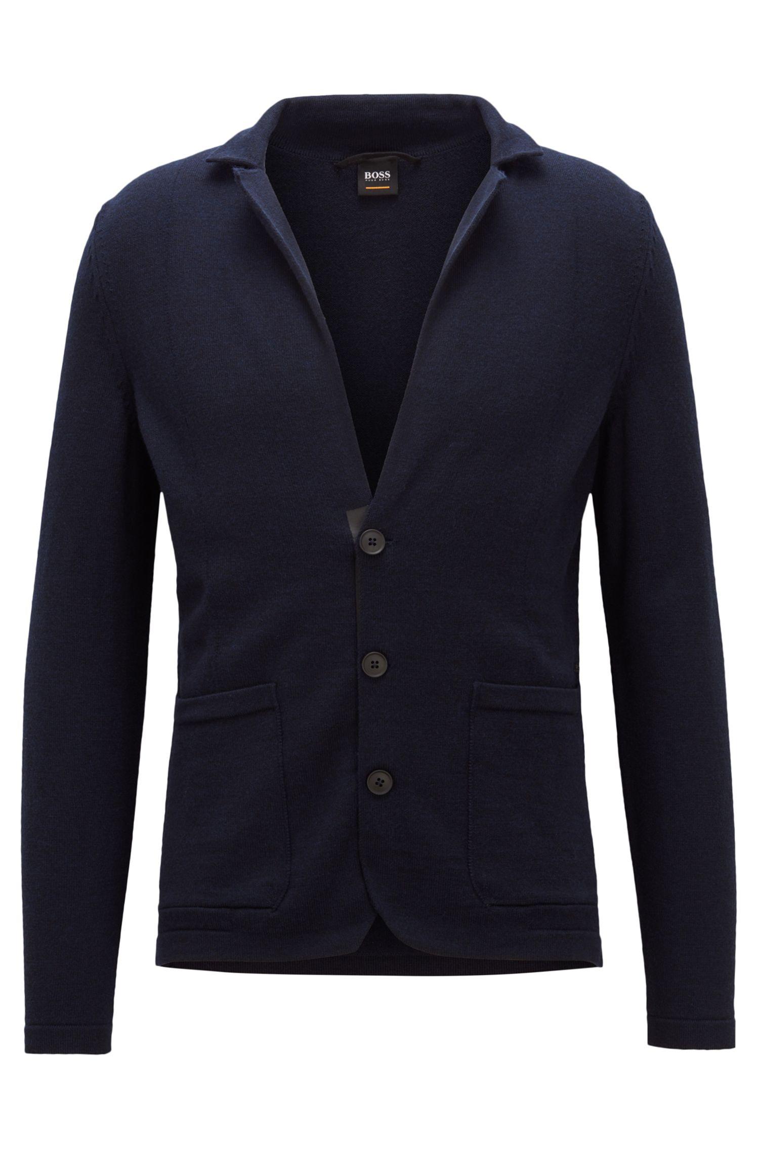 Giacca in pregiata lana merino con bottoni gommati, Blu scuro