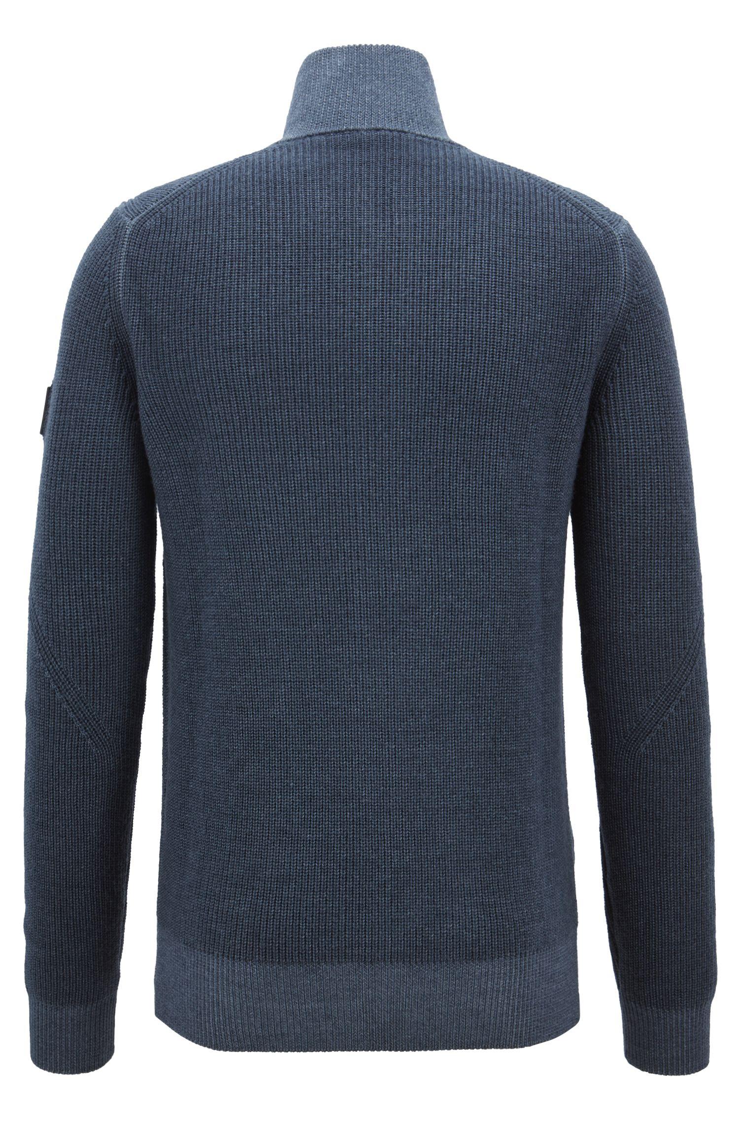 Knitted jacket in virgin wool with two-way zip, Dark Blue
