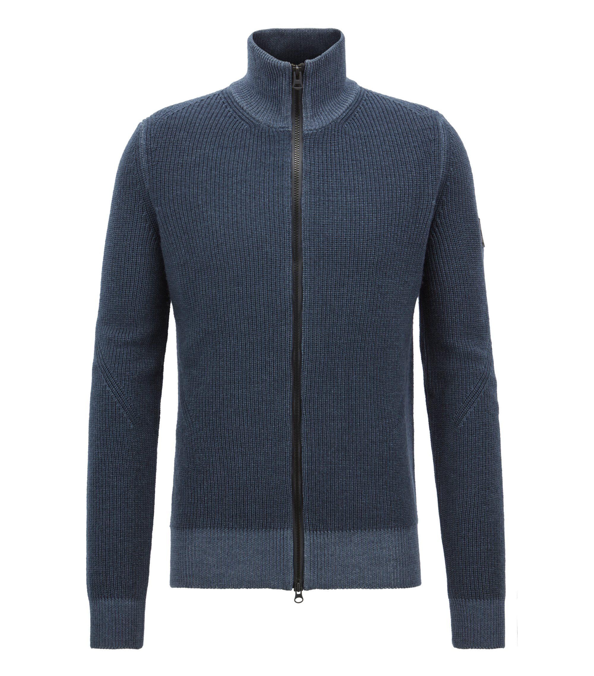 Knitted jacket in virgin wool with two-way zip, Dark Blue