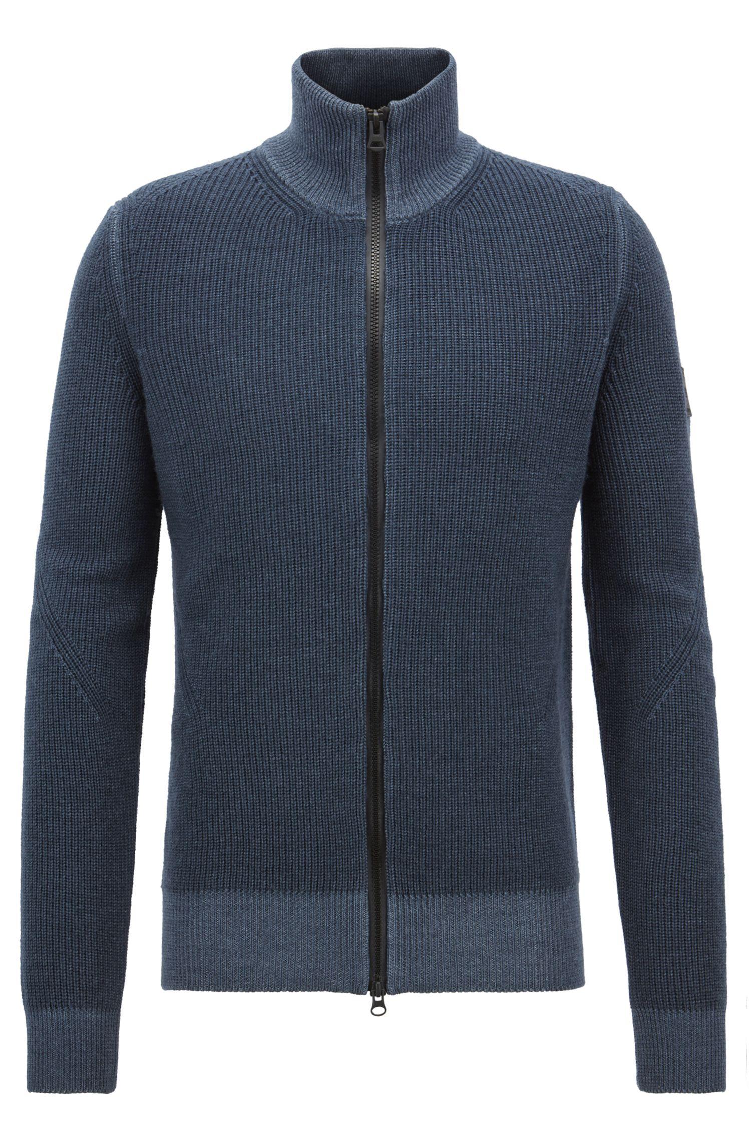 Veste en maille, en laine vierge avec fermeture éclair à double curseur, Bleu foncé