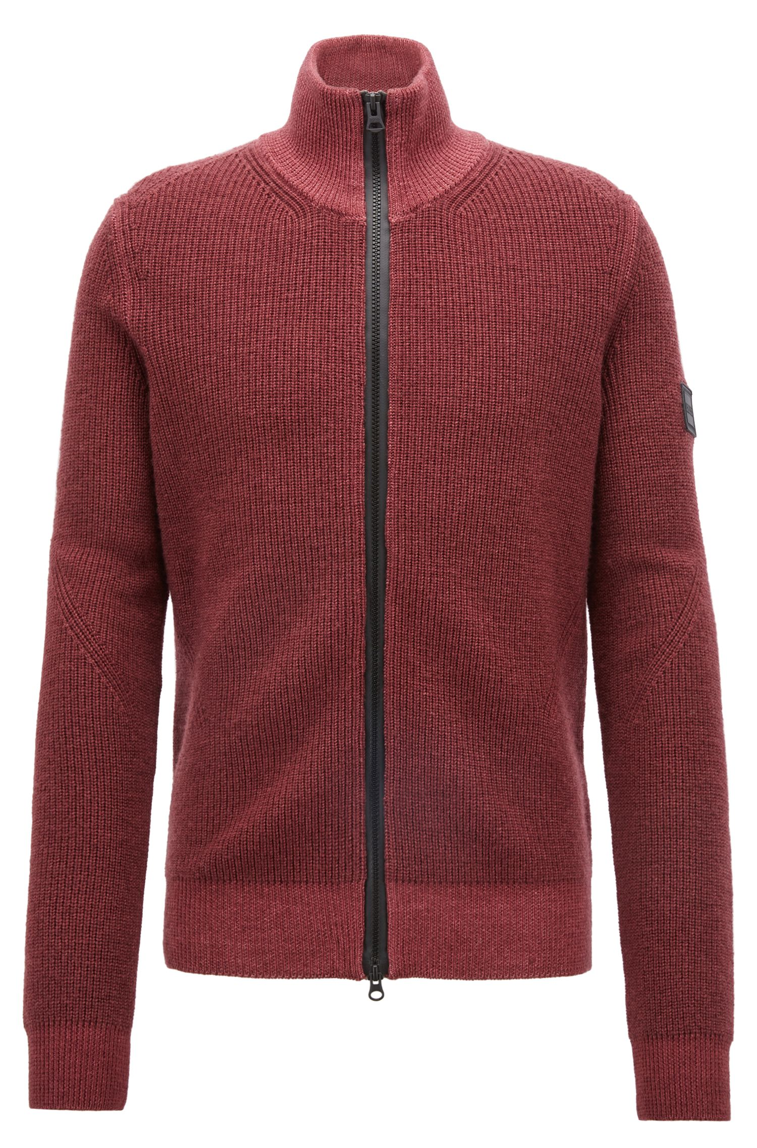 Knitted jacket in virgin wool with two-way zip, Dark Red