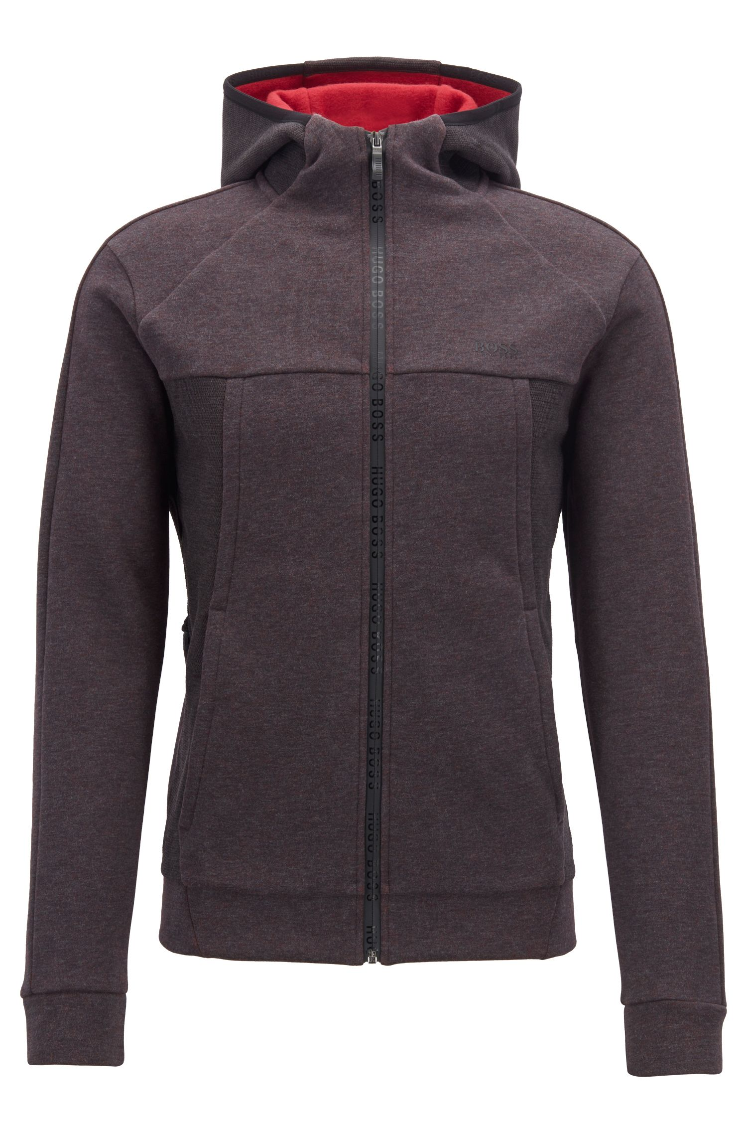 Zip-through hooded sweatshirt in a brushed cotton blend, Anthracite