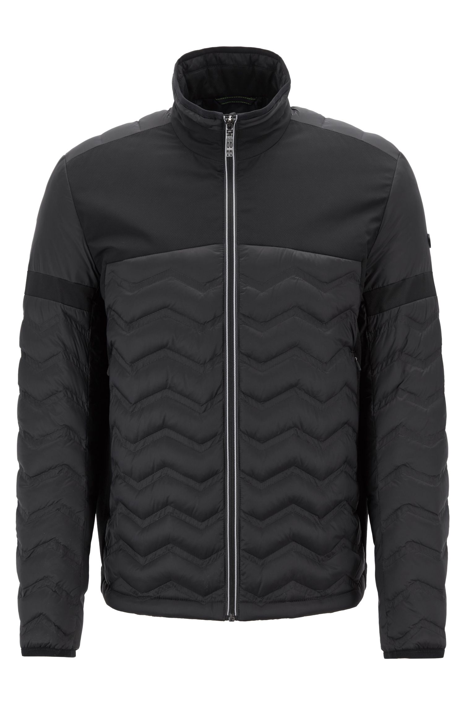 Link2 down jacket in water-repellent quilted taffeta, Black