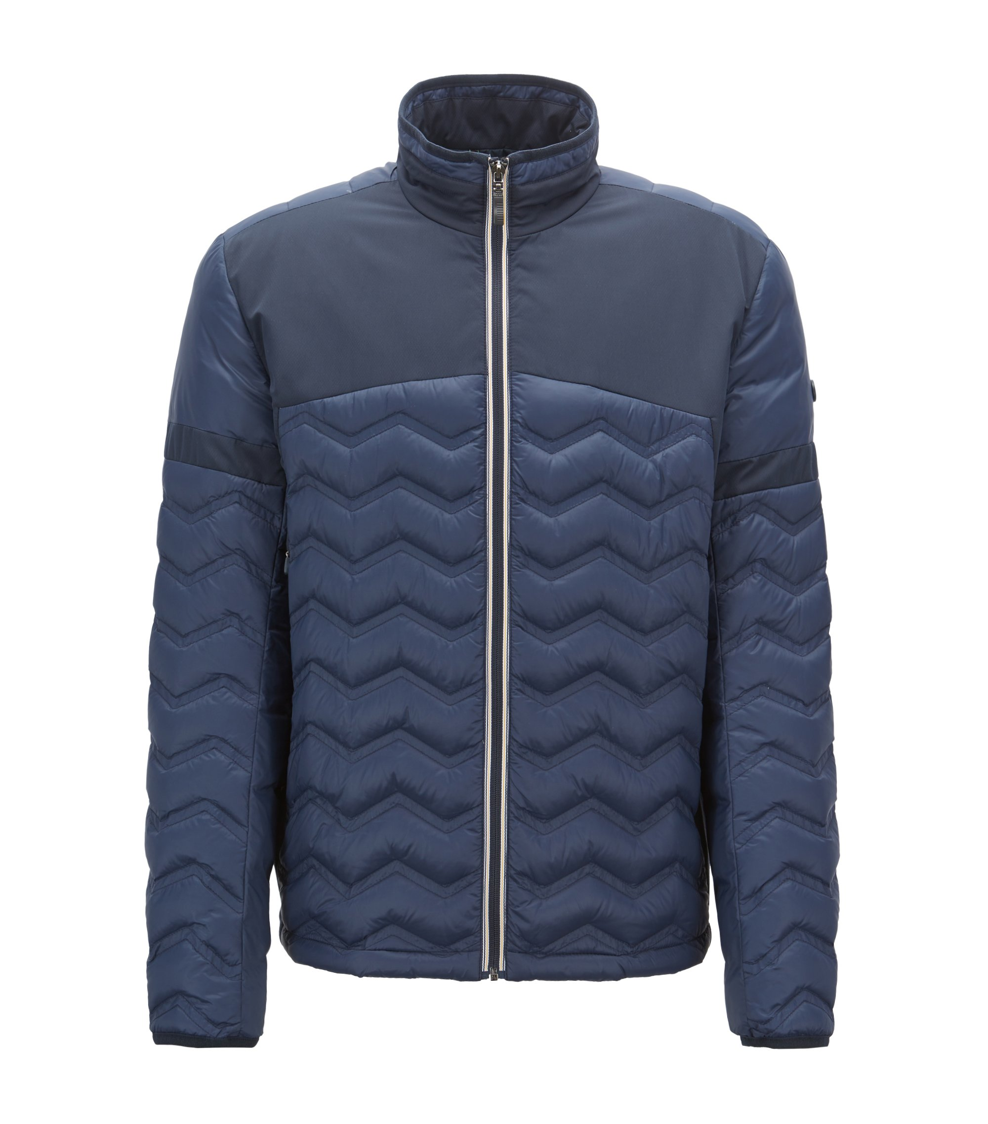 Link2 down jacket in water-repellent quilted taffeta, Dark Blue