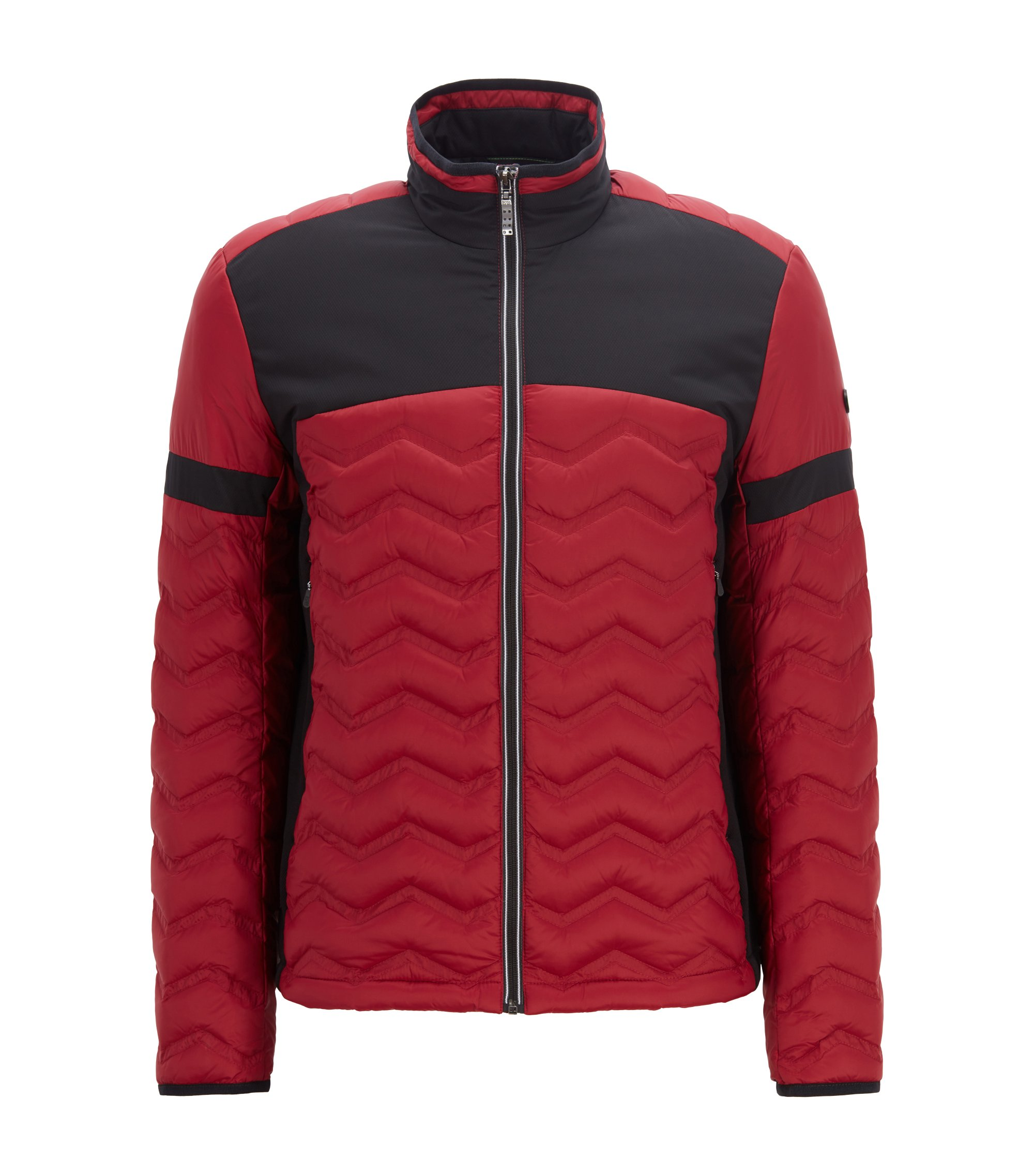 Link2 down jacket in water-repellent quilted taffeta, Dark Red