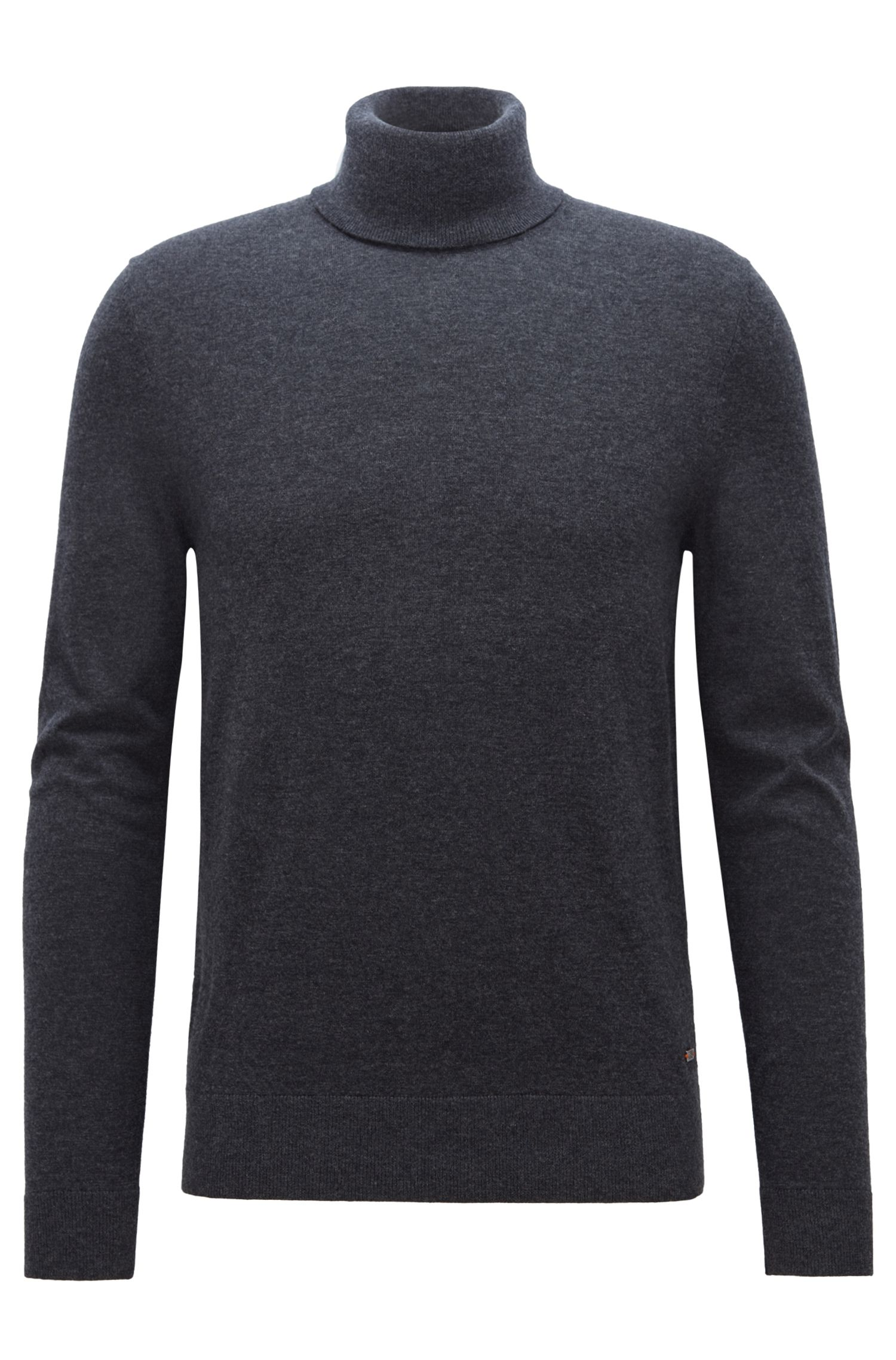 Slim-fit turtleneck sweater in a fine-knit cotton blend, Dark Grey
