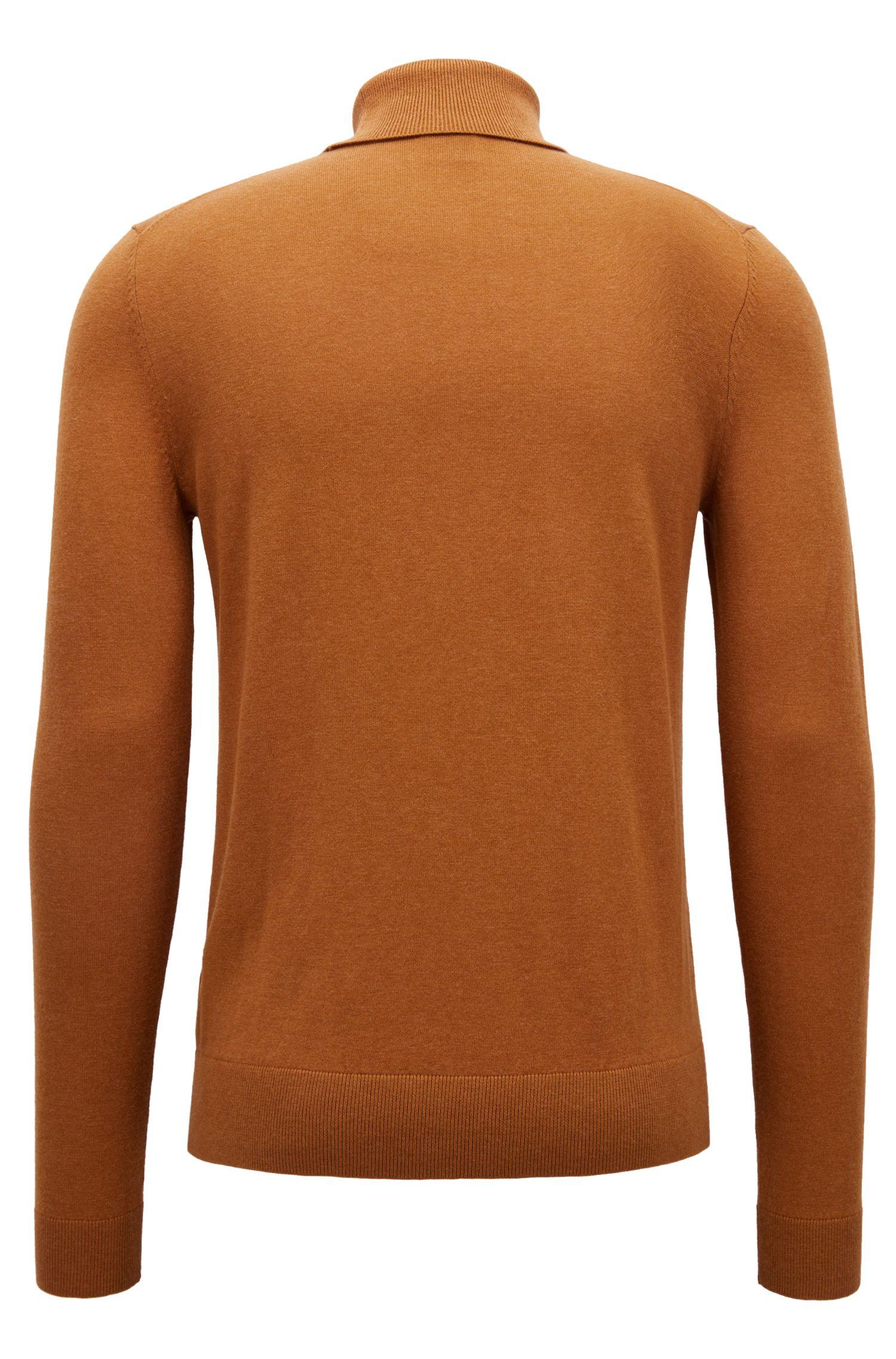 Feinstrick-Pullover aus Baumwoll-Mix mit Rollkragen, Braun