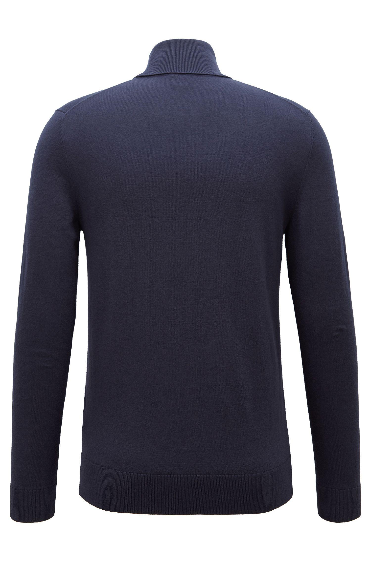 Feinstrick-Pullover aus Baumwoll-Mix mit Rollkragen, Dunkelblau