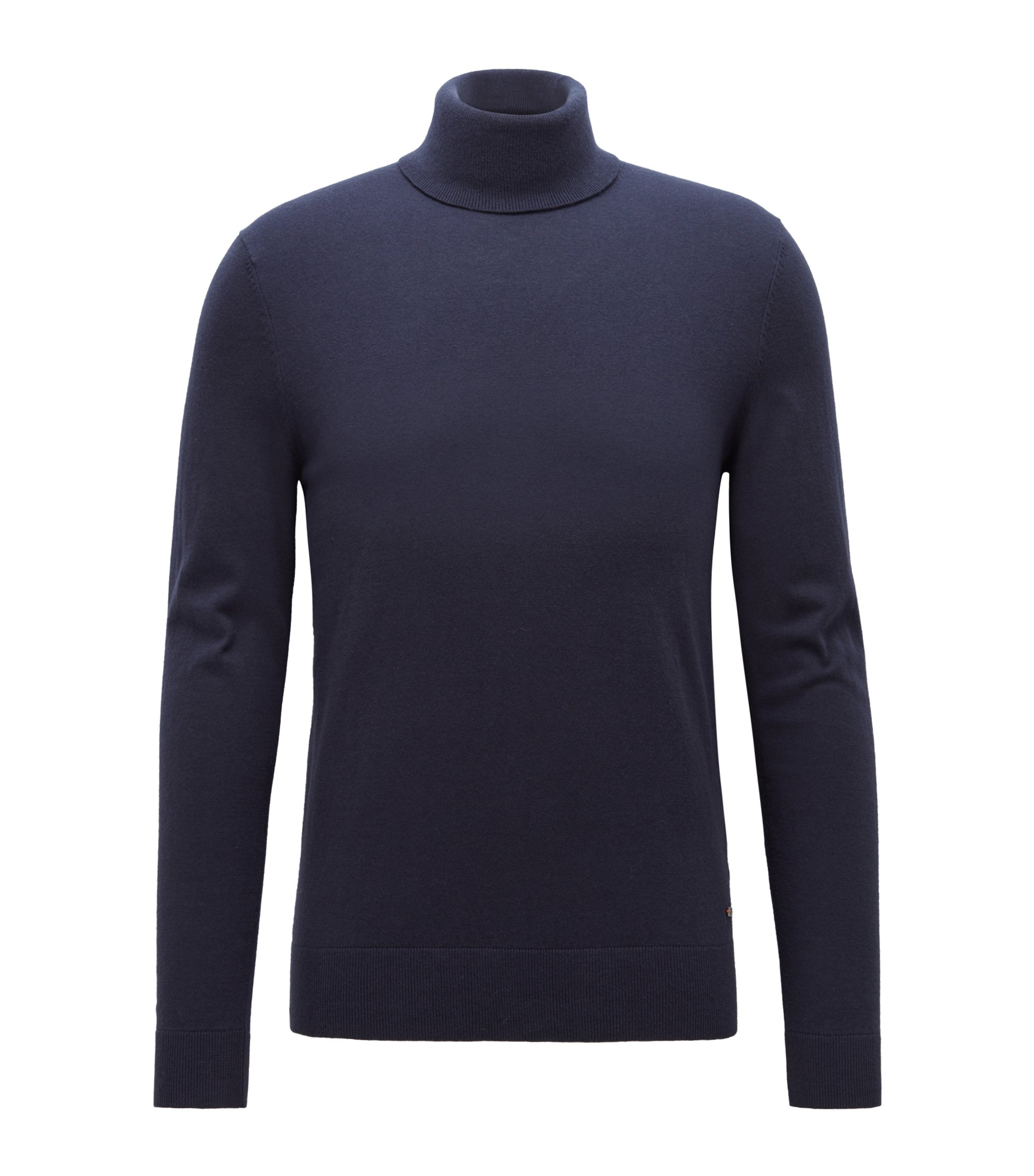 Slim-fit turtleneck sweater in a fine-knit cotton blend, Dark Blue