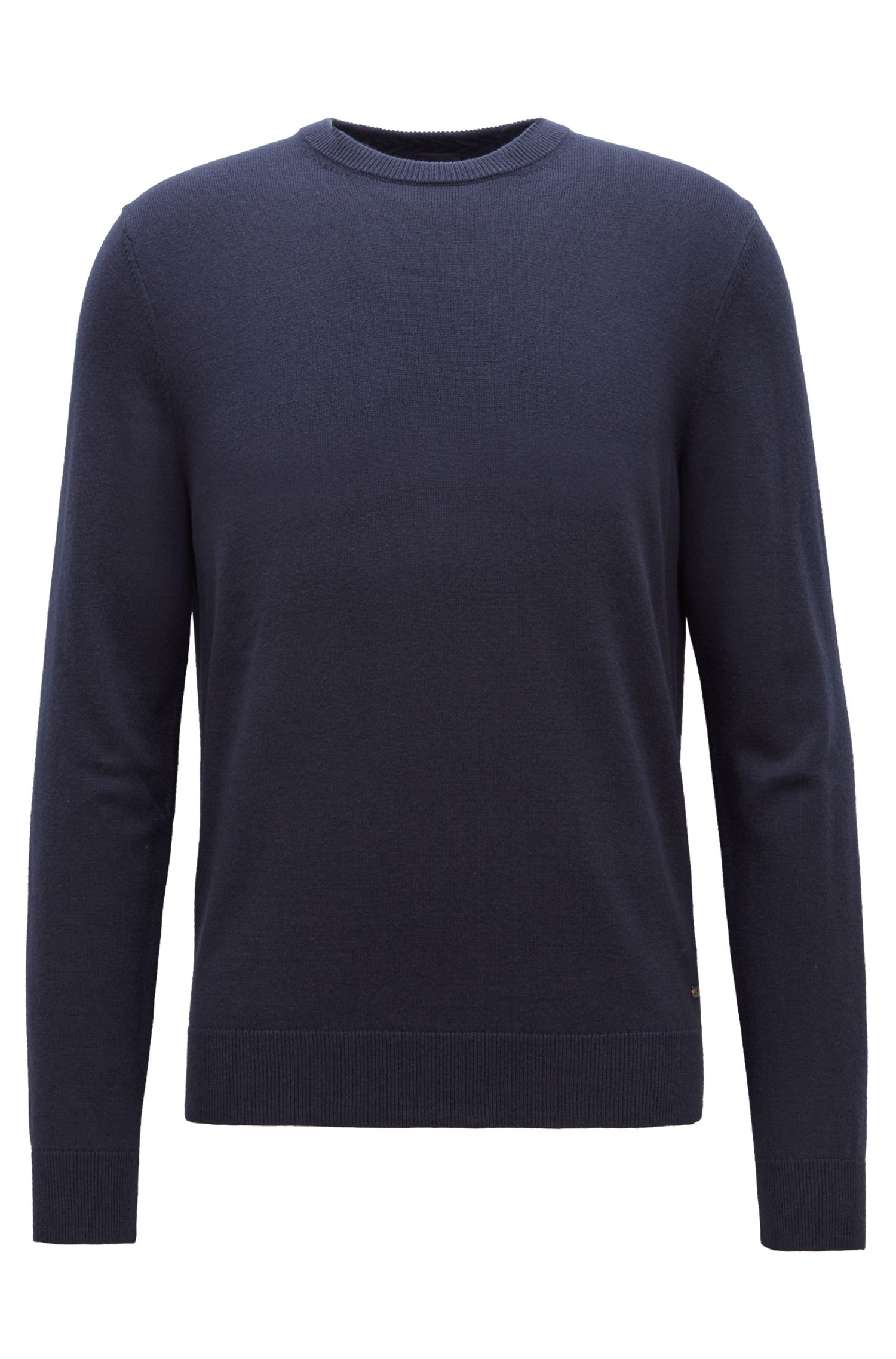 Knitted sweater in lightweight virgin wool and cotton, Dark Blue