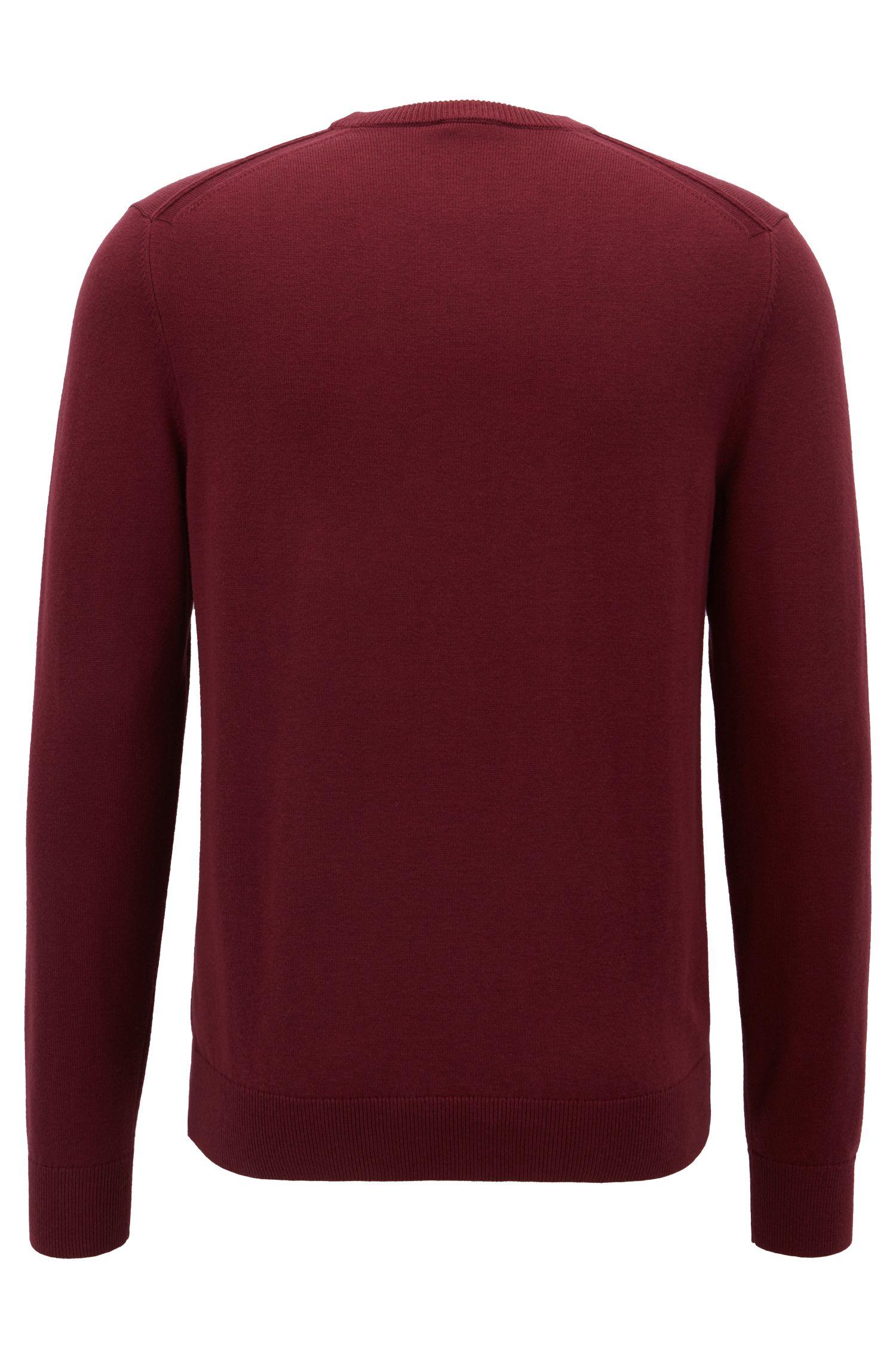 Maglione lavorato in lana vergine leggera e cotone, Rosso scuro