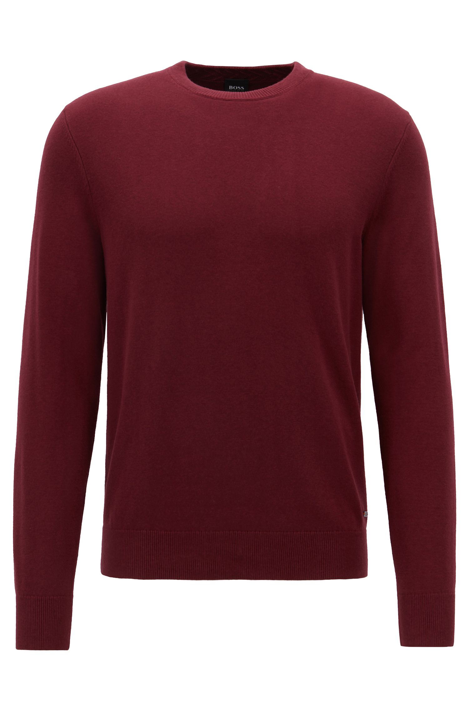 Knitted sweater in lightweight virgin wool and cotton, Dark Red