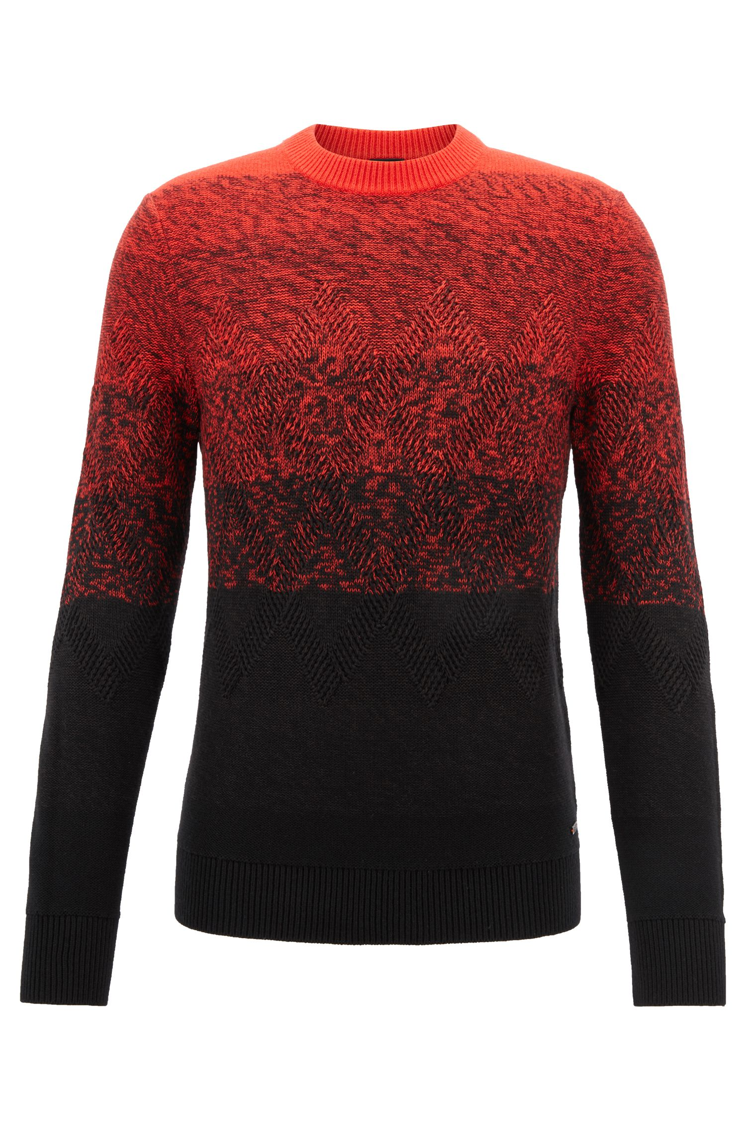 Dégradé sweater with Aran-knit detailing, Black