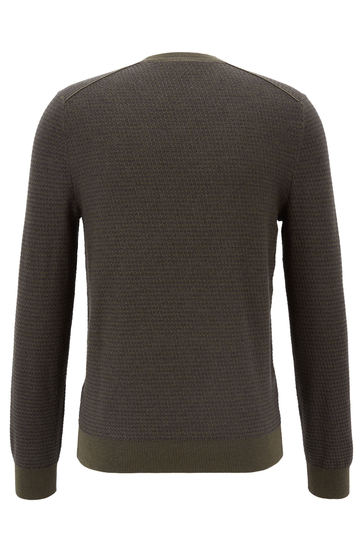 Cotton-blend sweater with two-tone micro structure, Dark Green