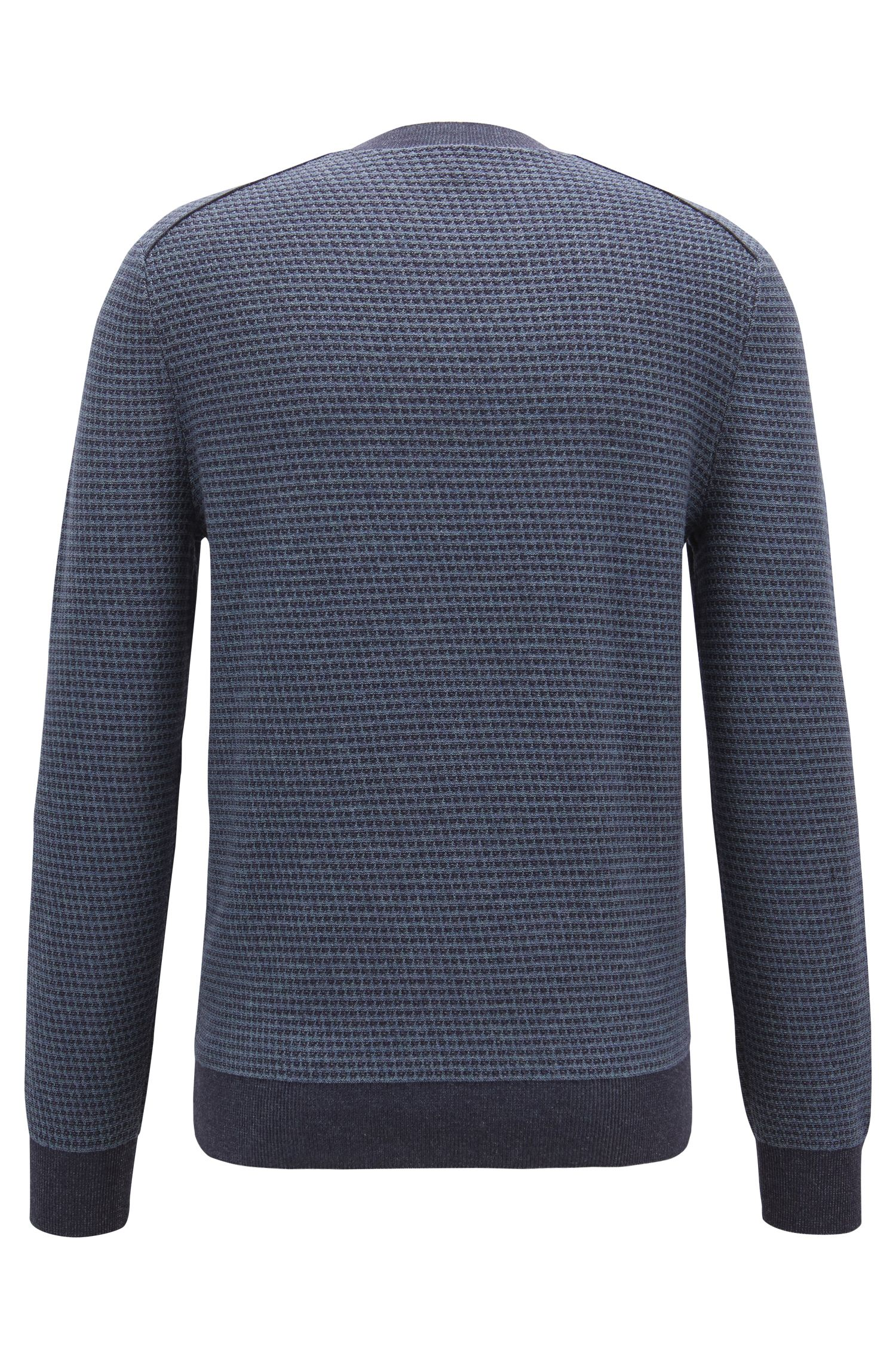 Cotton-blend sweater with two-tone micro structure, Dark Blue