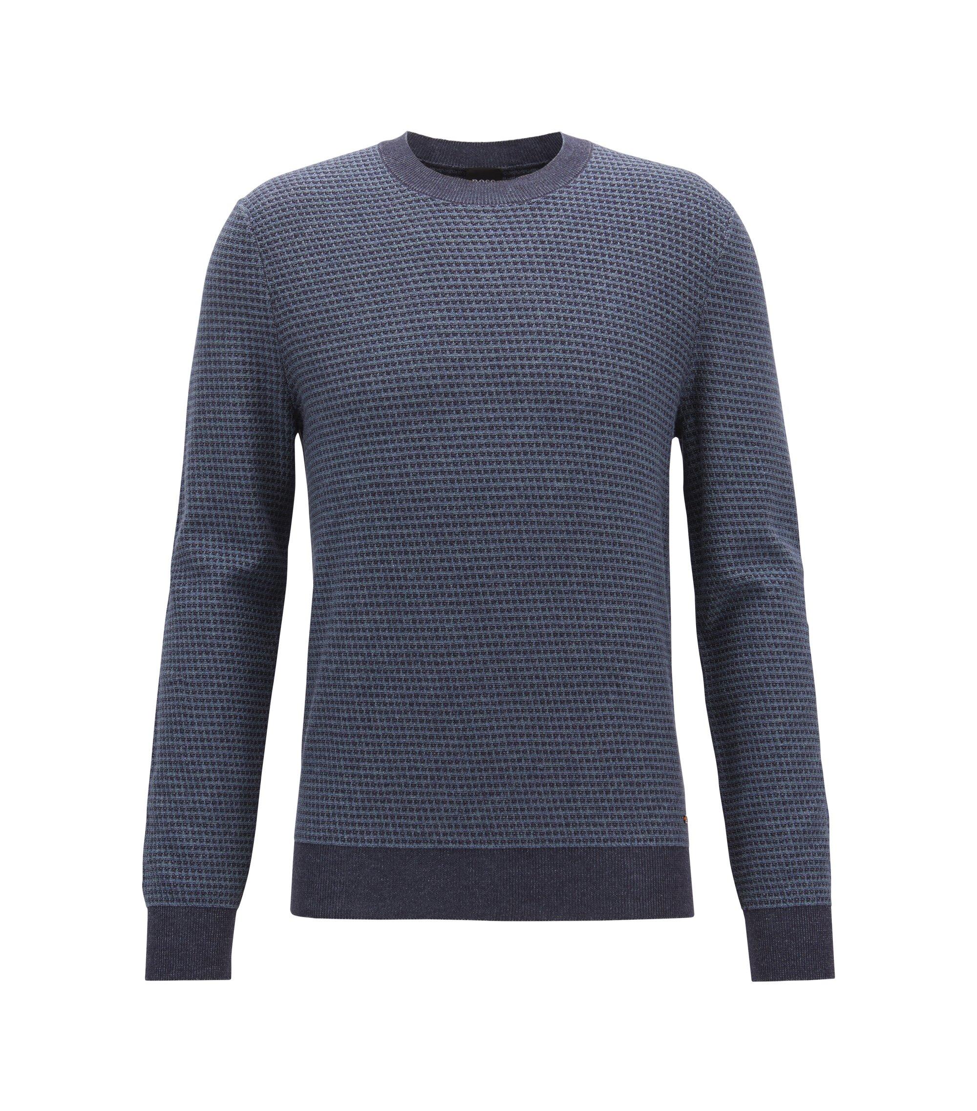 Pull bicolore en coton mélangé micro-structuré, Bleu foncé