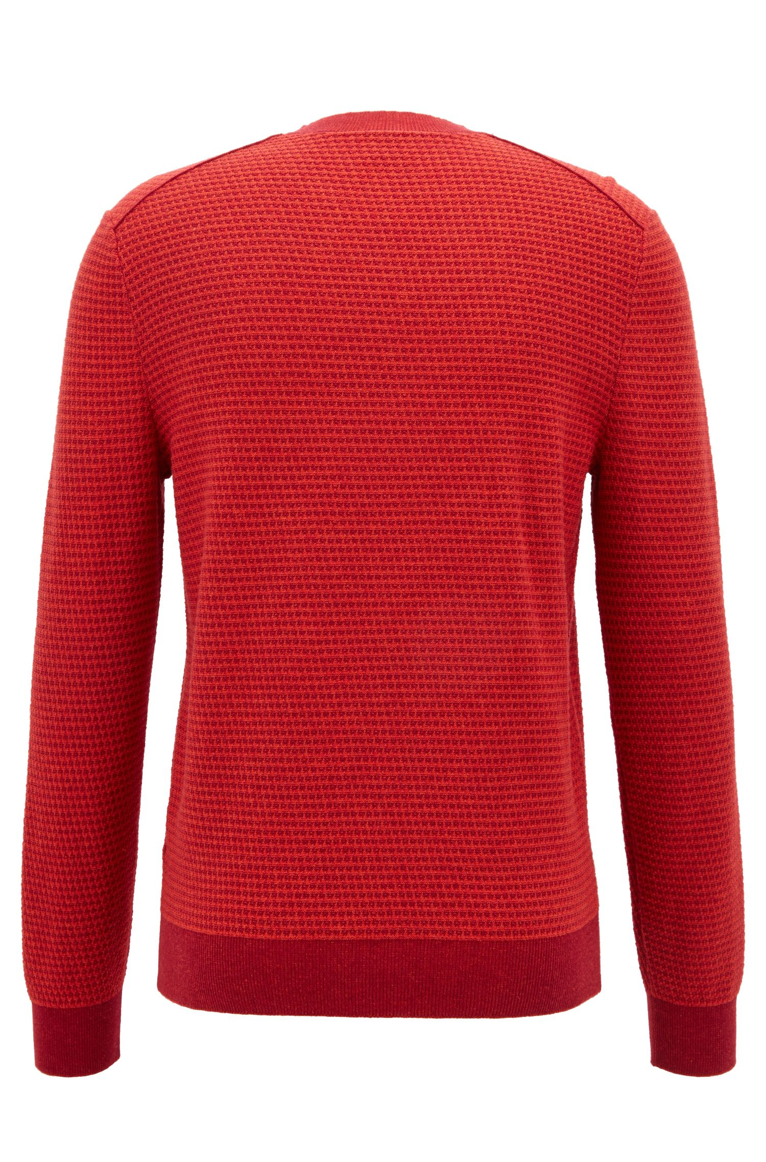 Cotton-blend sweater with two-tone micro structure, Open Red