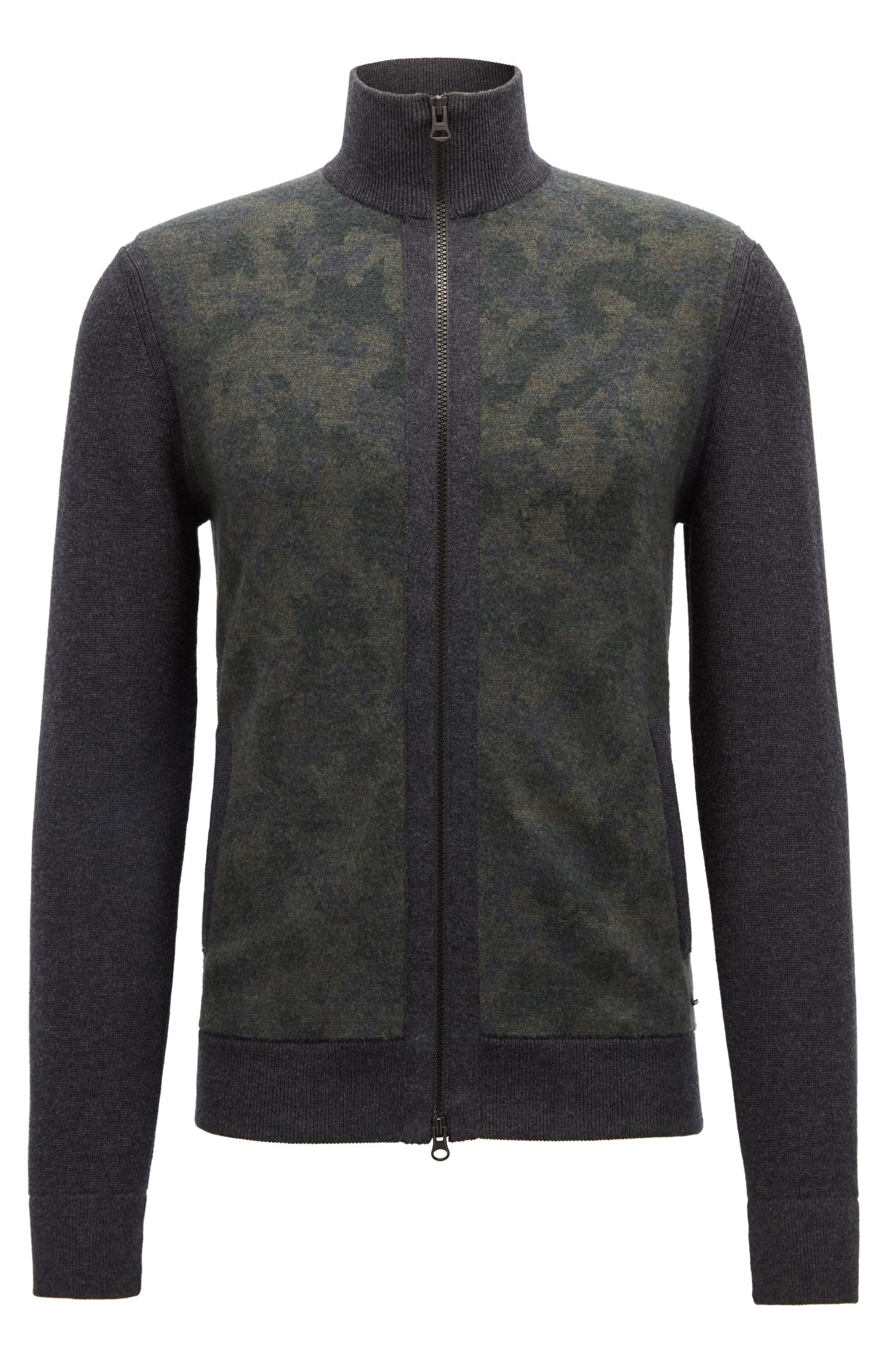 Knitted jacket with patterned virgin-wool front panel, Dark Grey