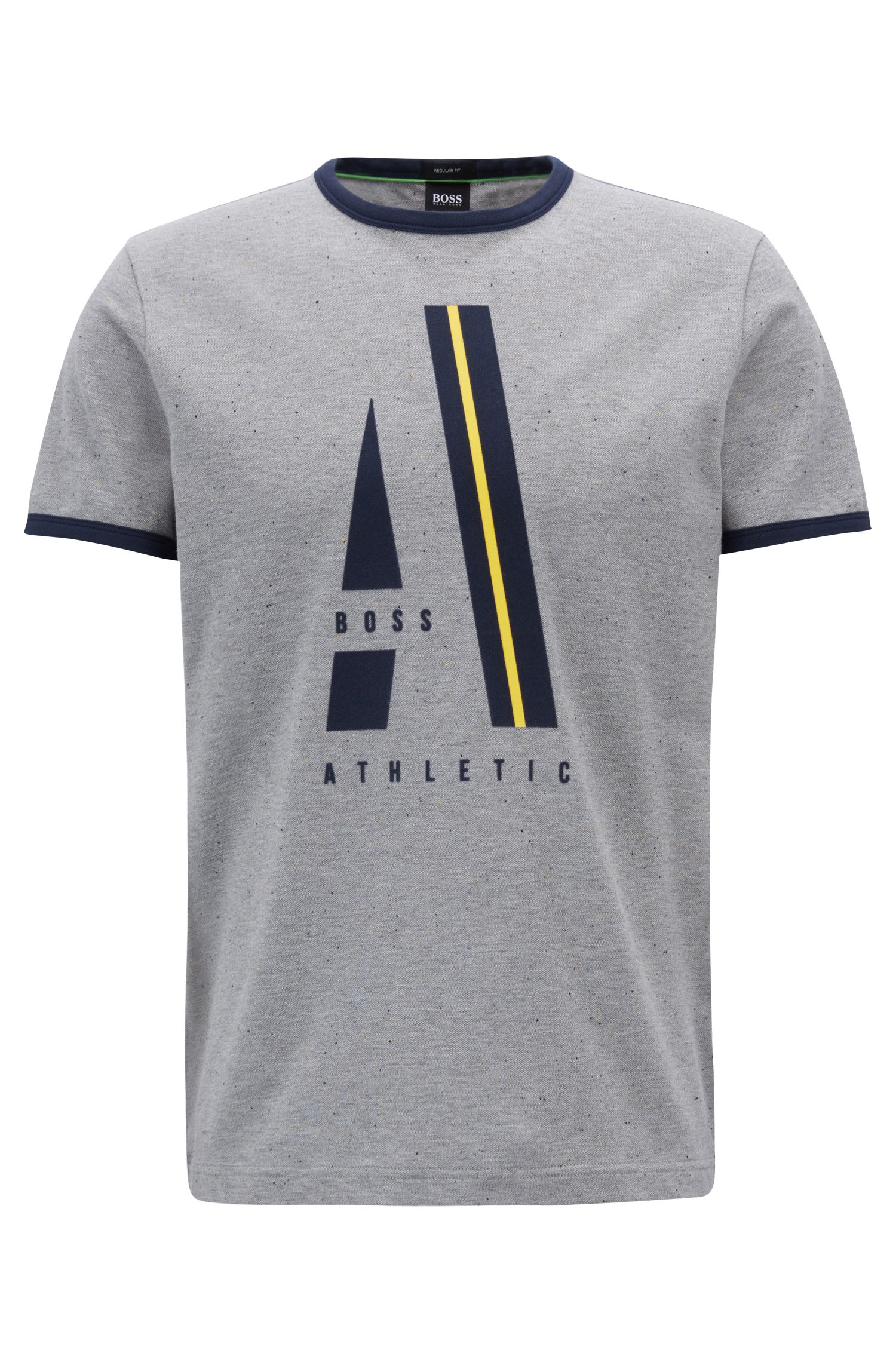 T-shirt in napped pique with contrast artwork, Light Grey