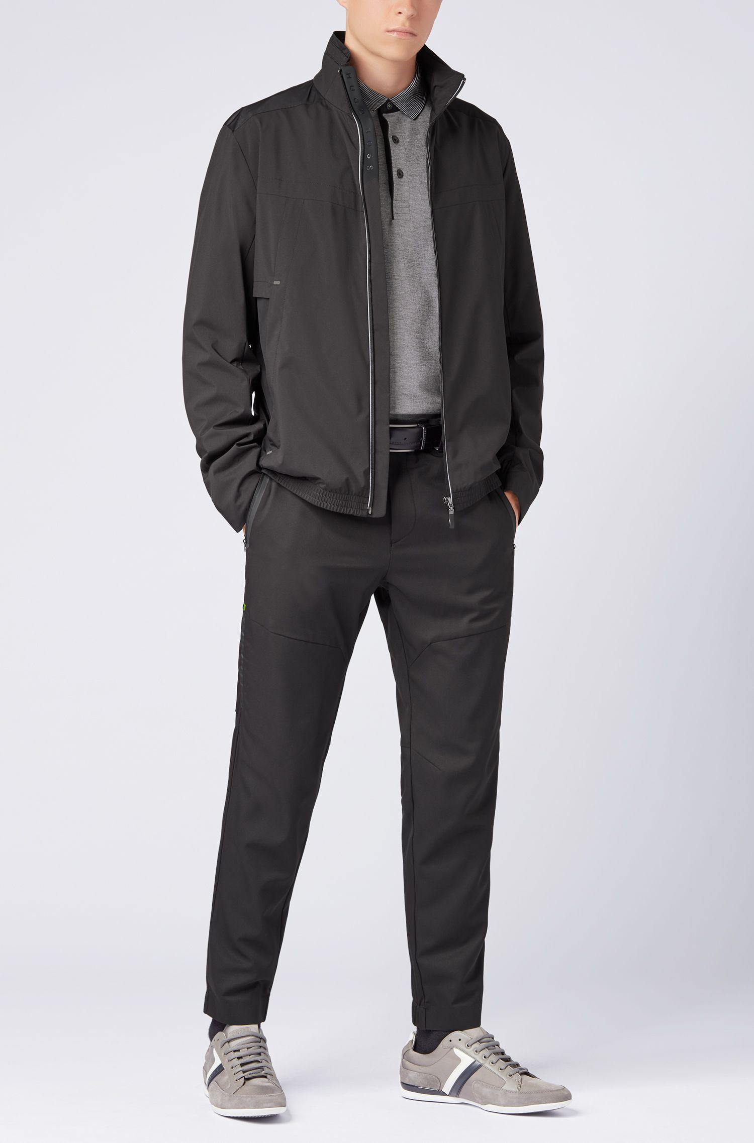 Polo à manches longues en coton avec col à rayures, Noir